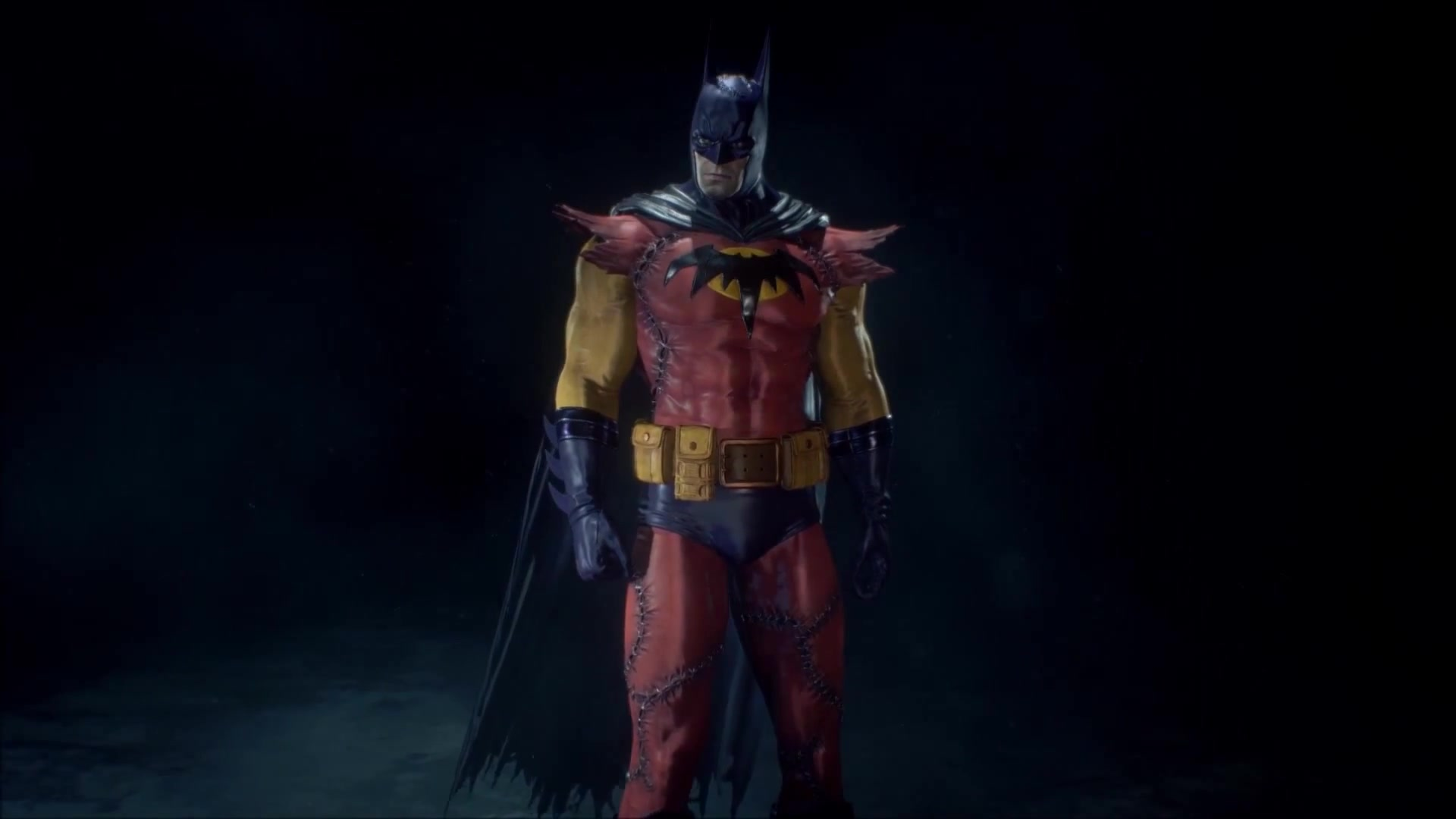 gallery shot of Batman in his Zur-En-Arrh form, which includes jagged, cut-up, sewn-together rags for his costume