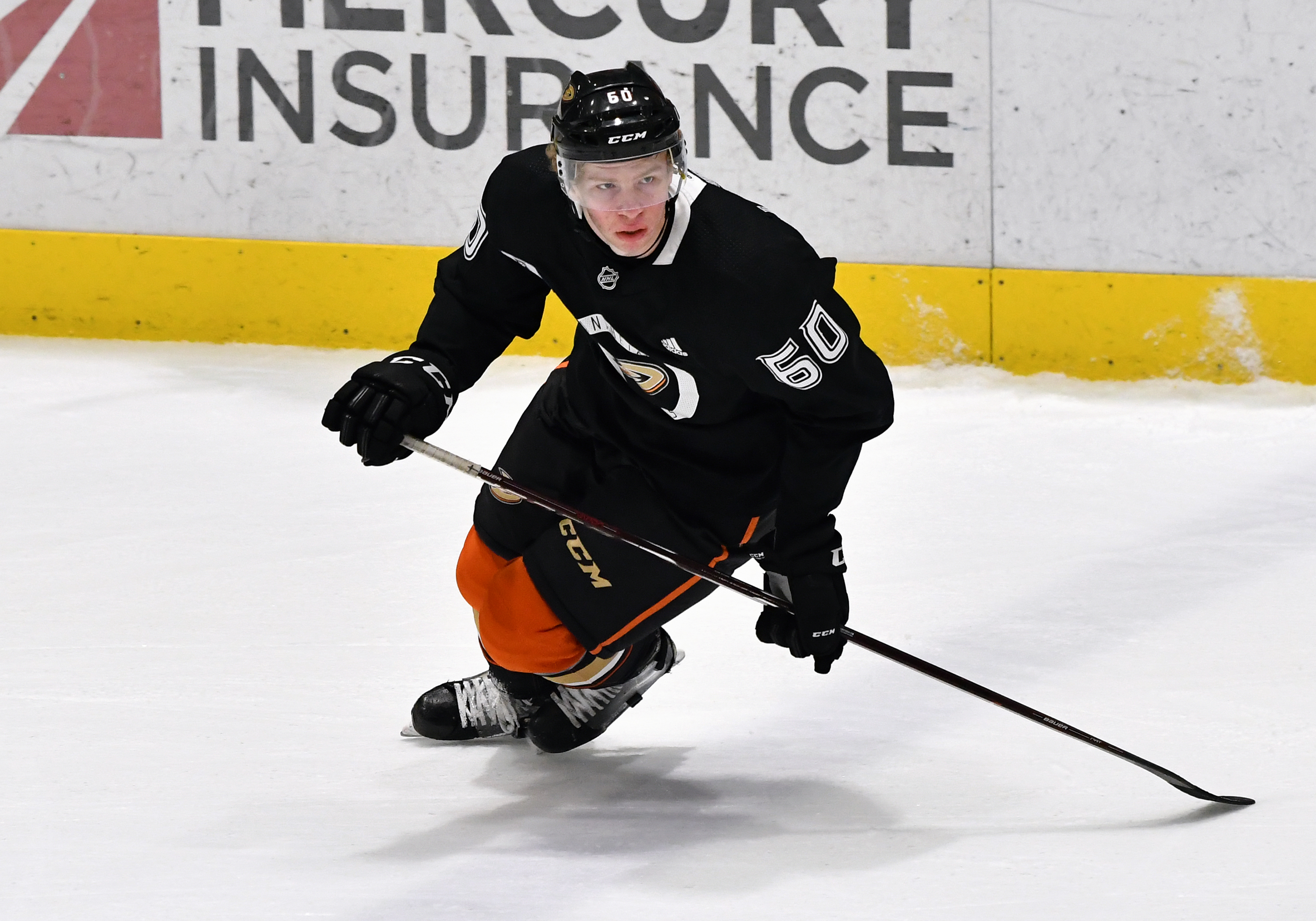 Anaheim Ducks defenseman Jackson LaCombe (60) in action during an Anaheim Ducks Development Camp game held on June 29, 2019 at FivePoint Arena at the Great Park Ice in Irvine, CA.