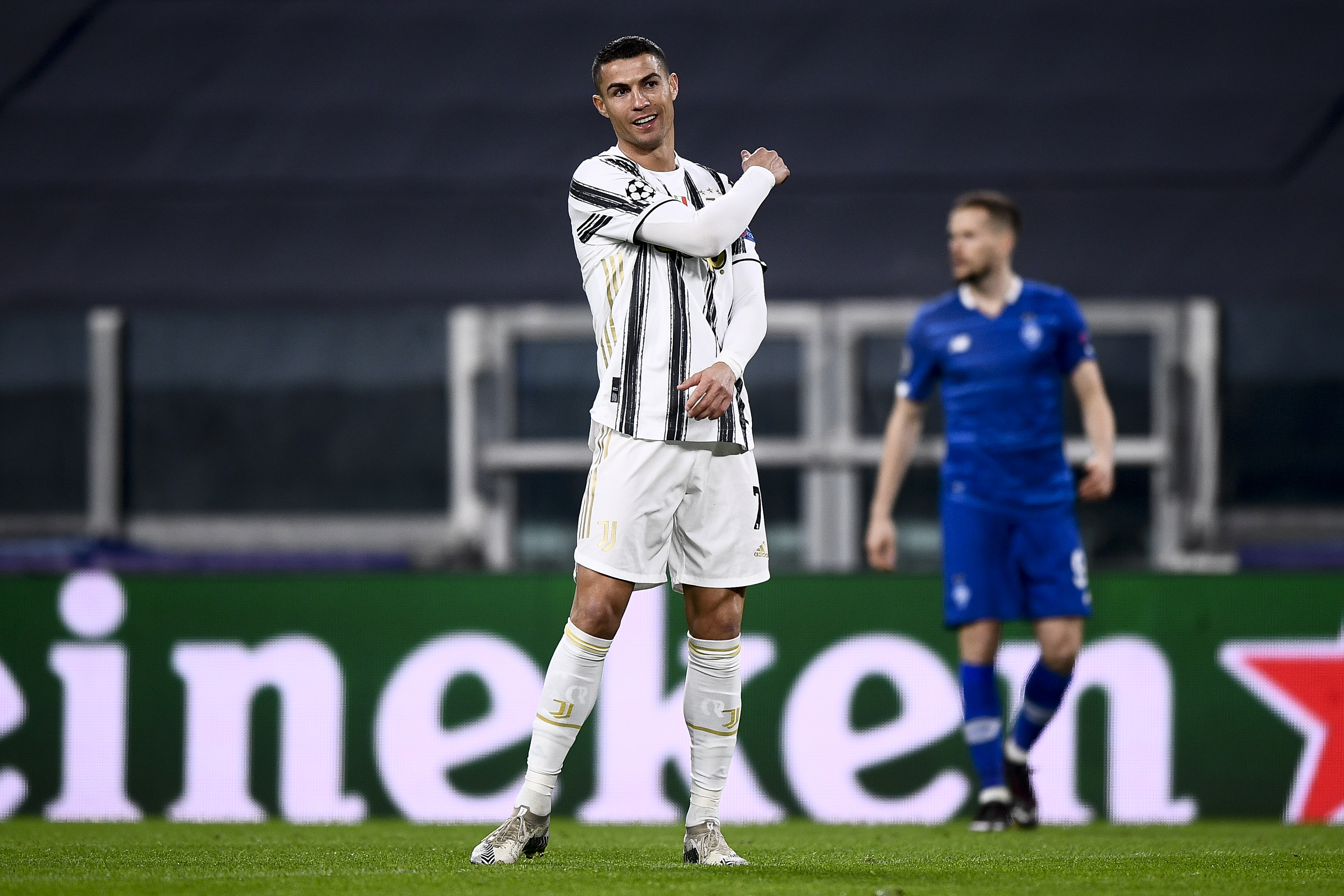 Cristiano Ronaldo of Juventus FC reacts during the UEFA...