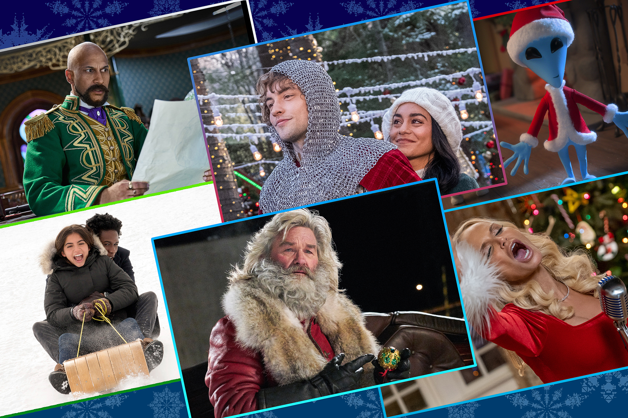 Graphic grid with six images from Christmas movies