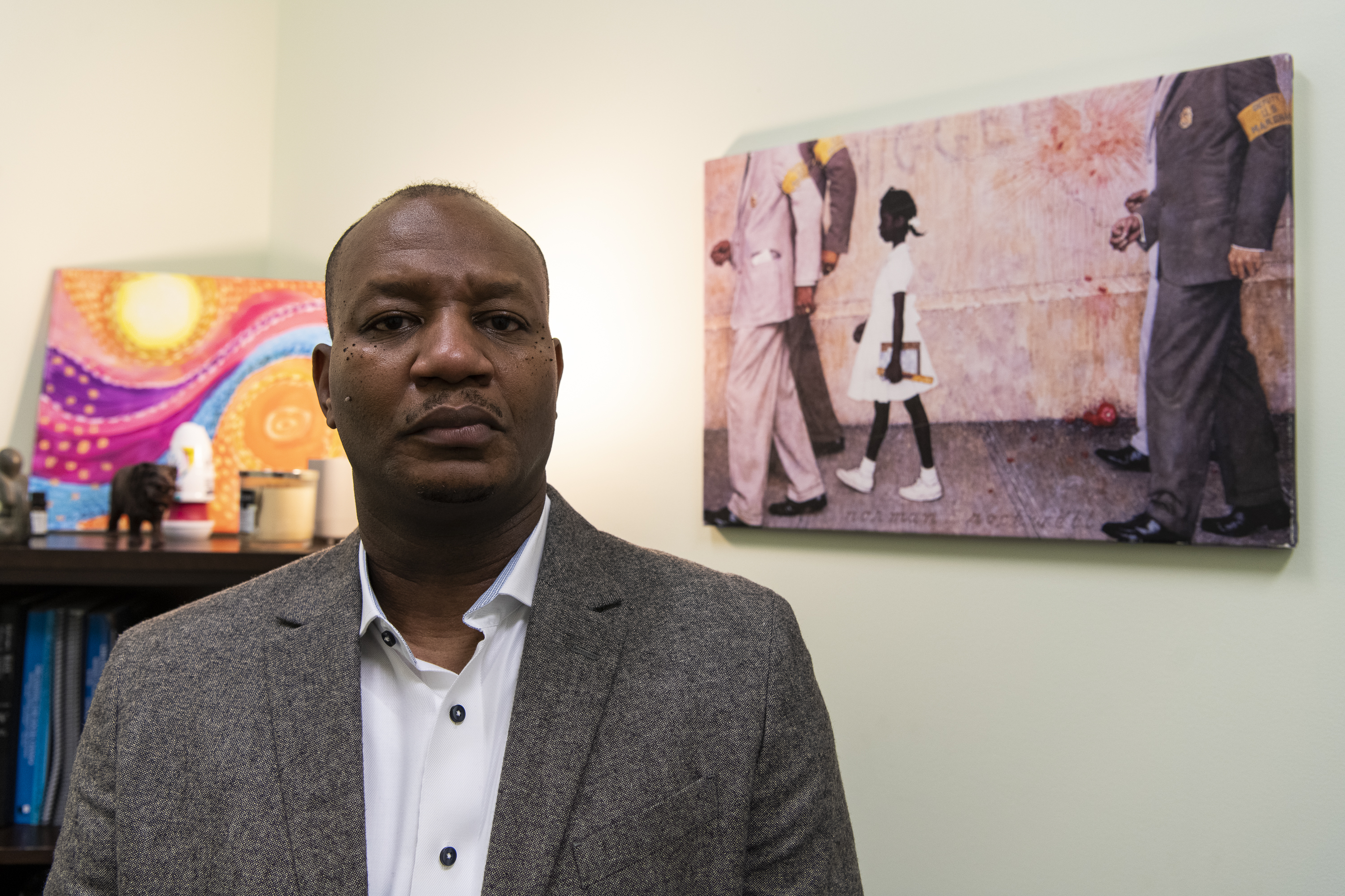 Shannon Bennett, the new executive director of the Kenwood Oakland Community Organization at the Bronzeville offices of the group known as KOCO.