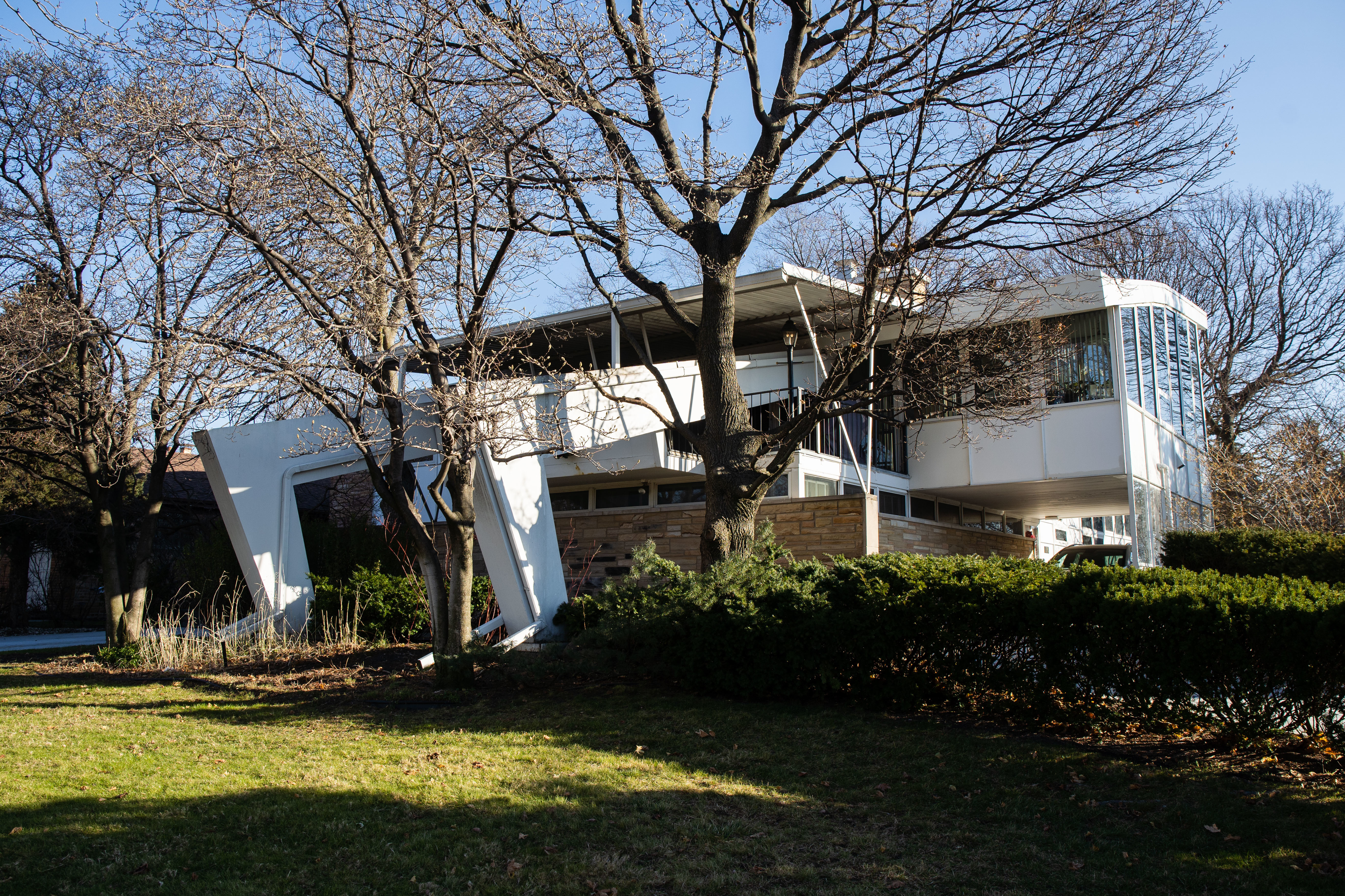 The Miracle House, located at 2001 N. Nordica Ave. in the Galewood neighborhood, is seen in this photo, Dec. 4, 2020. The Landmarks Commission of the Chicago Department of Planning and Development gave the single family, mid-century home designed by Belli & Belli a preliminary landmark status.