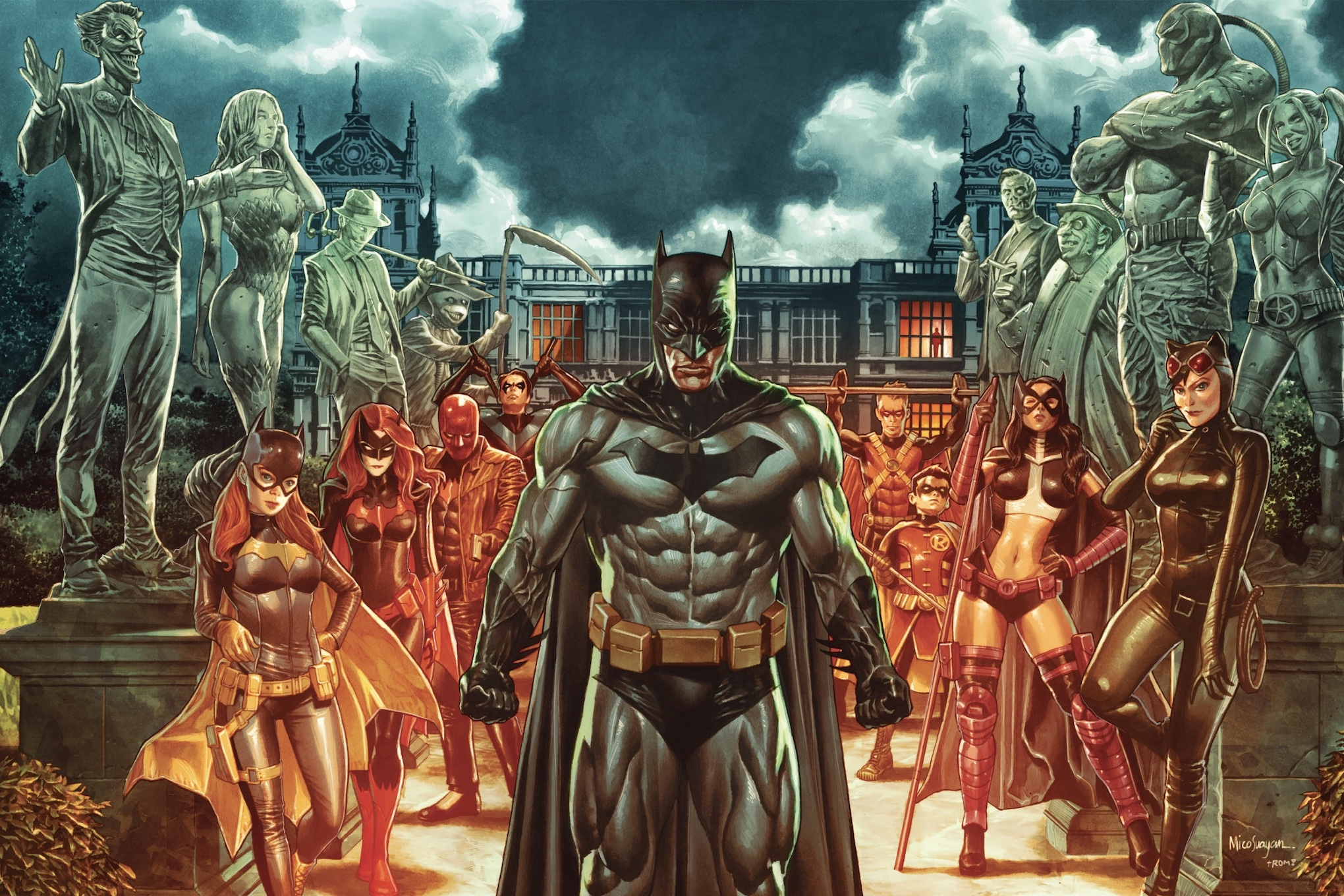 Batman and his allies stand in front of Wayne Manor, flanked by statues of his greatest foes, in a variant cover for Detective Comics #1000, DC Comics (2019).