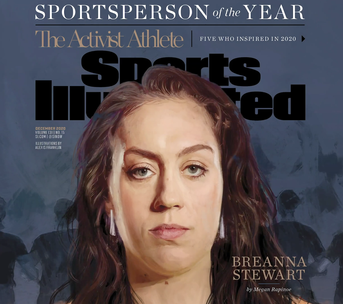 A computer painting of Breanna Stewart of the Seattle Storm