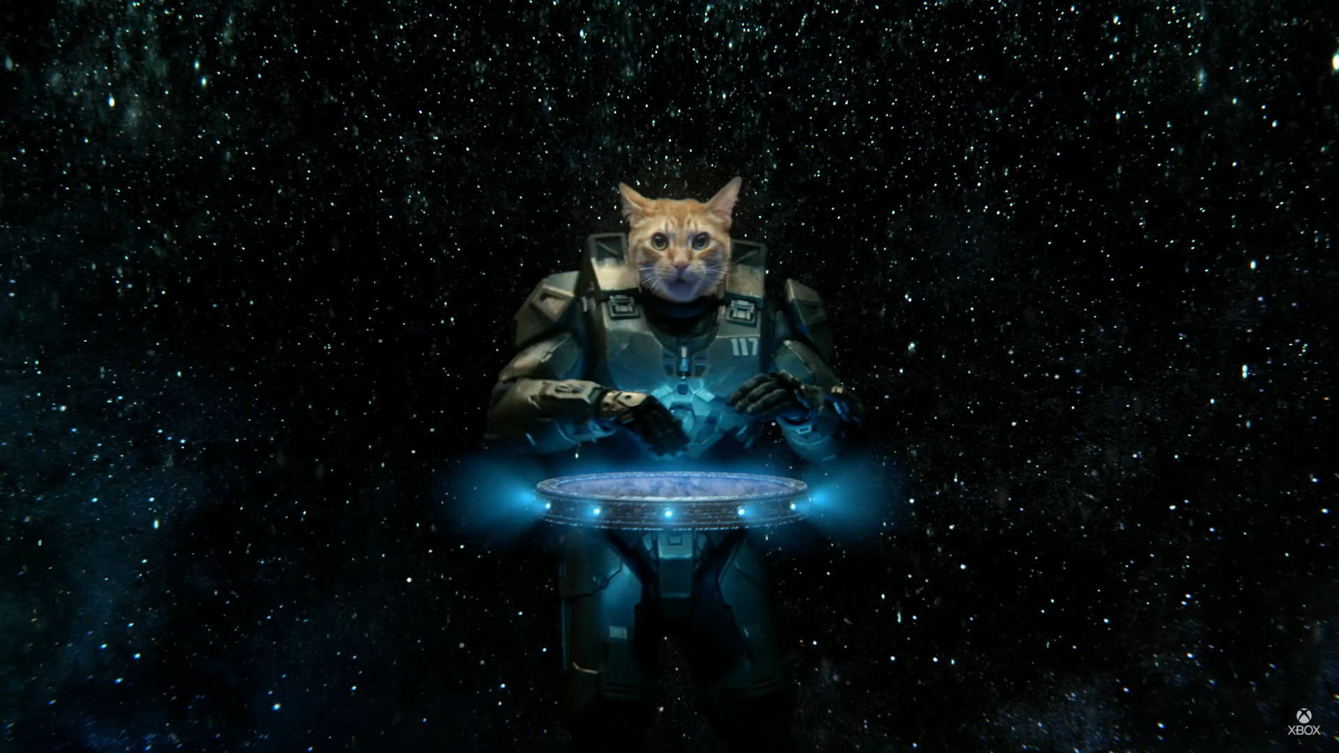 A cat wearing Master Chief's armor, in space, as a DJ