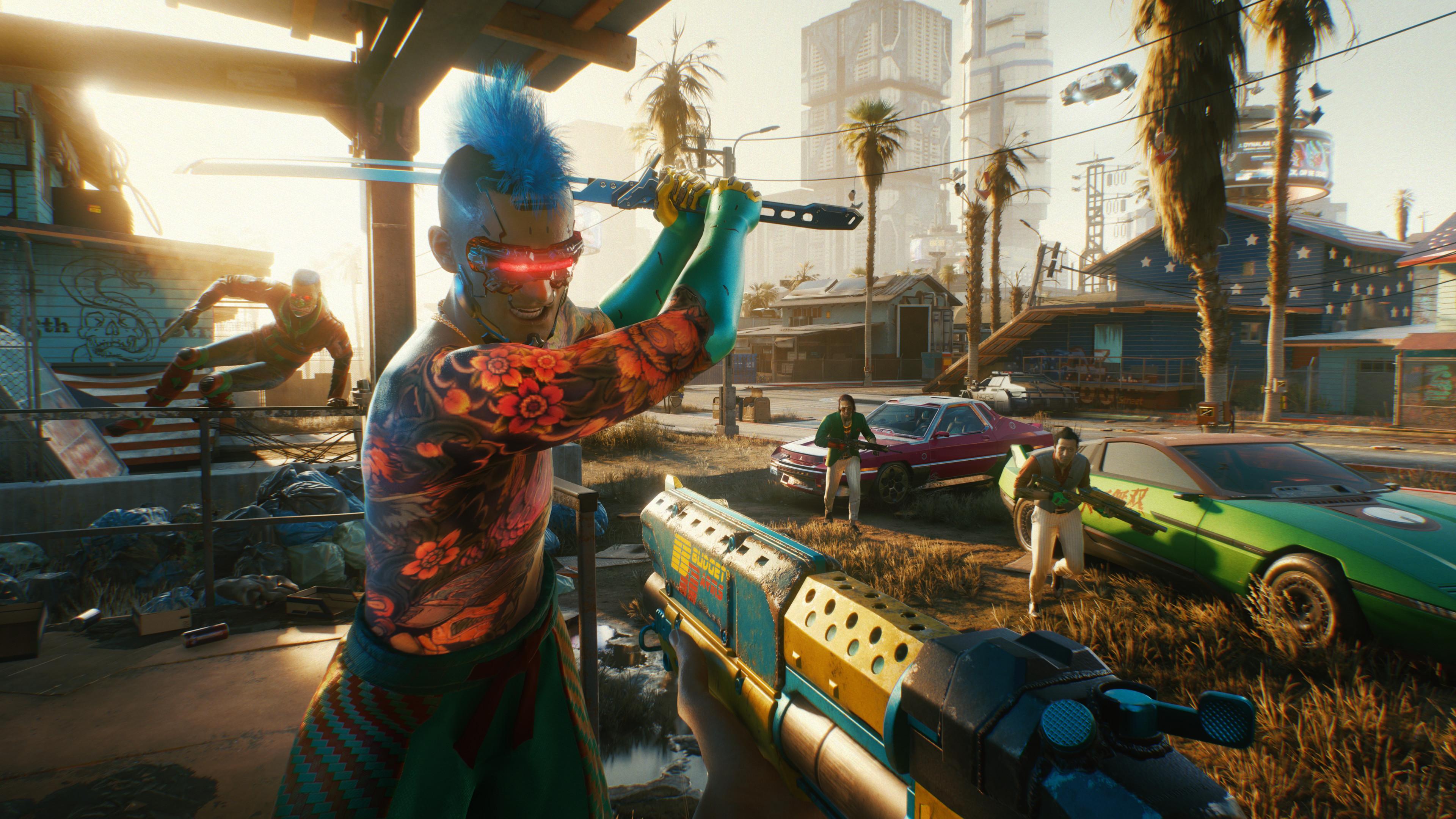 A futuristic blue-haired punk attacks with a sword in Cyberpunk 2077