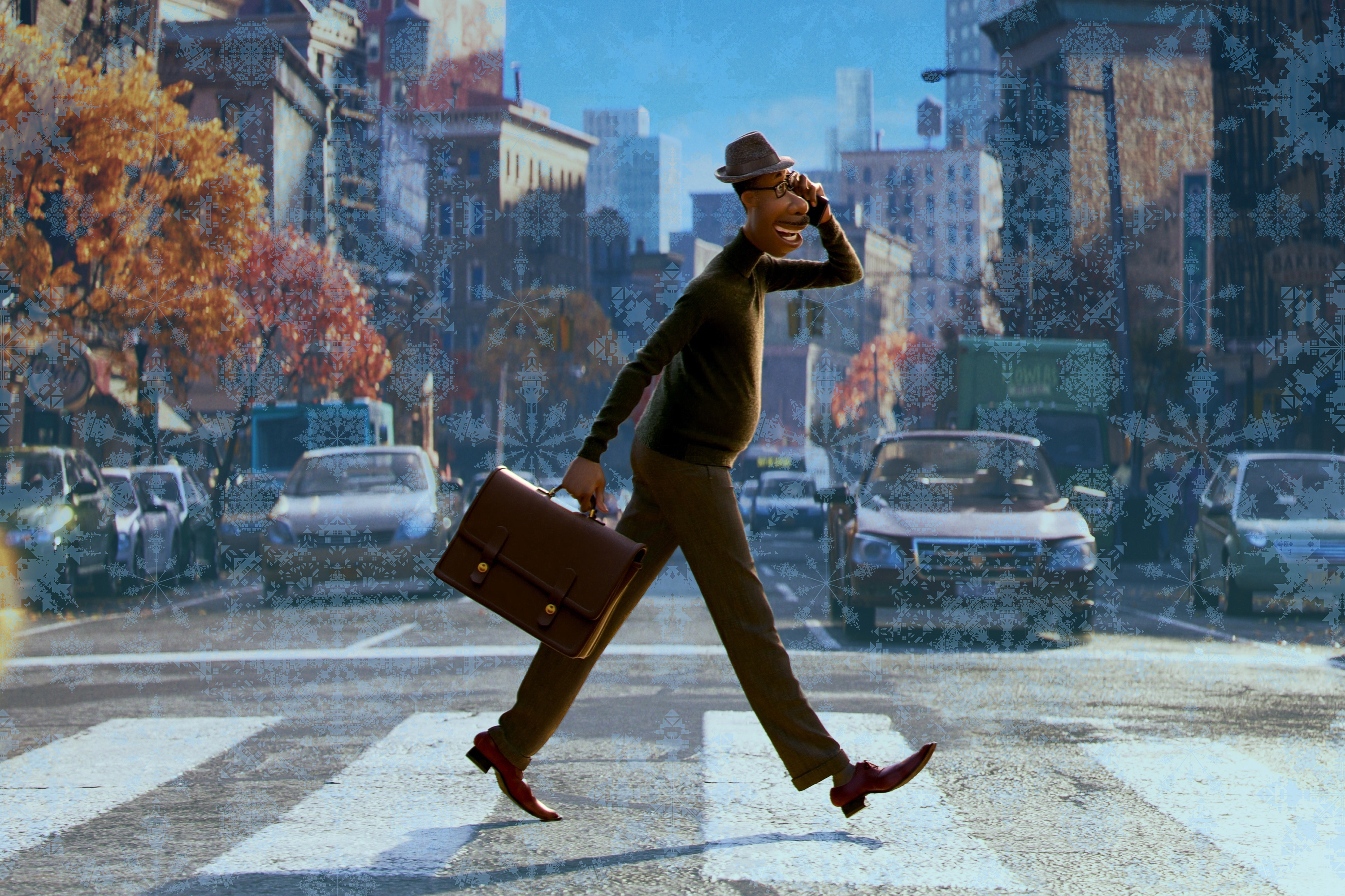 """Man walks on a cross walk speaking on the phone from the Pixar movie """"Soul"""""""