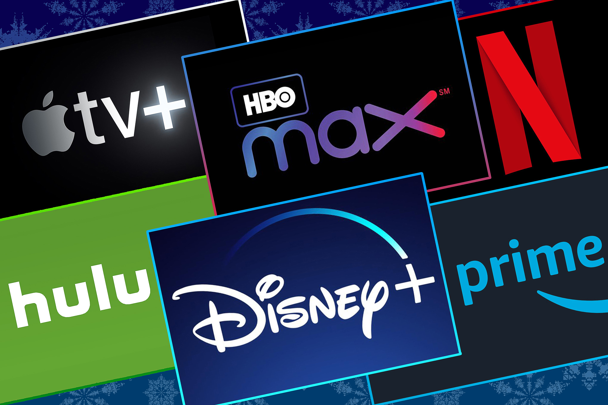 Graphic grid with the logos of major streaming companies