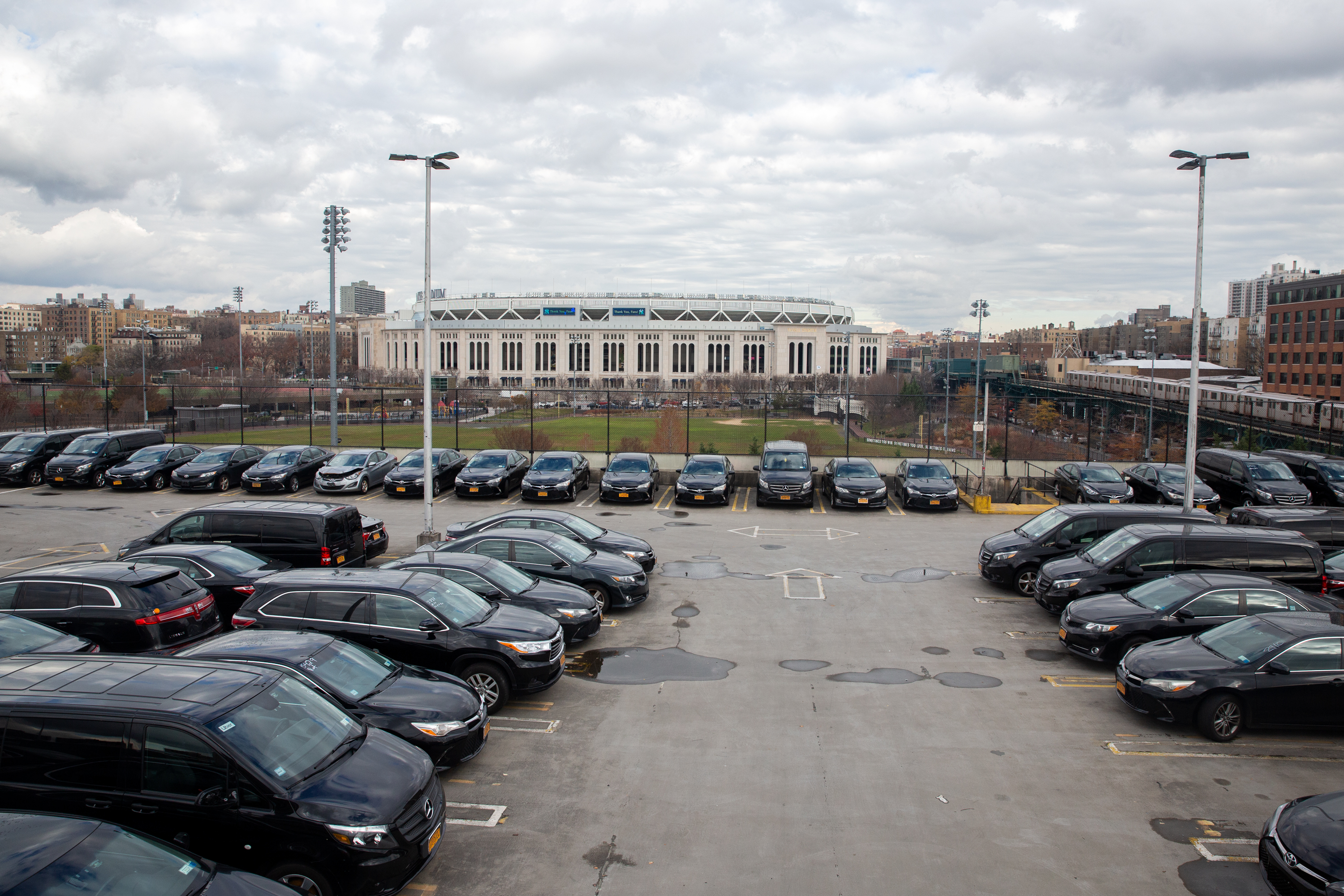 A multi-level parking garage looks over the southern end of Yankee Stadium.