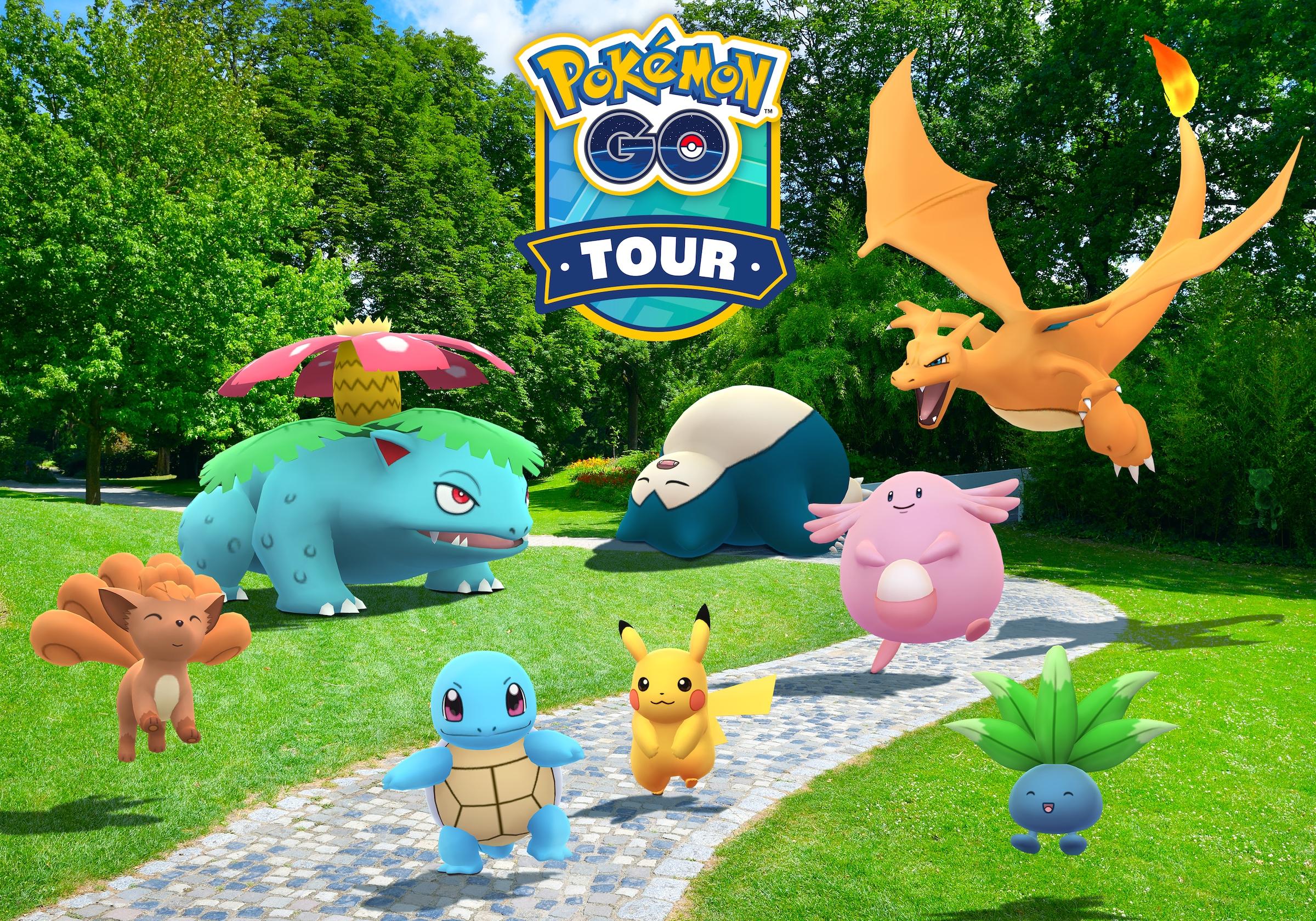 Various Pokemon frolic in artwork for Pokémon Go's Tour Kanto event