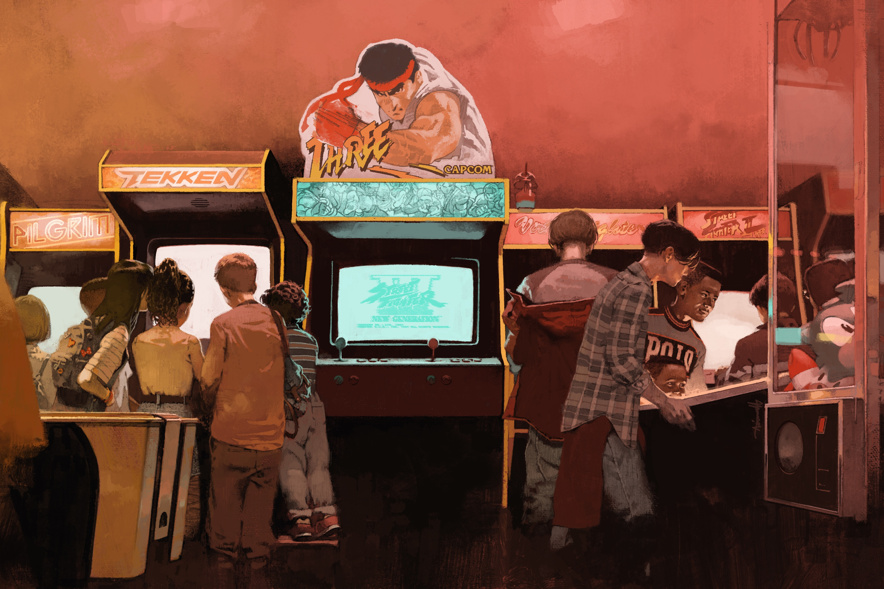 Kids play various arcade games while avoiding the Street Fighter 3 cabinet