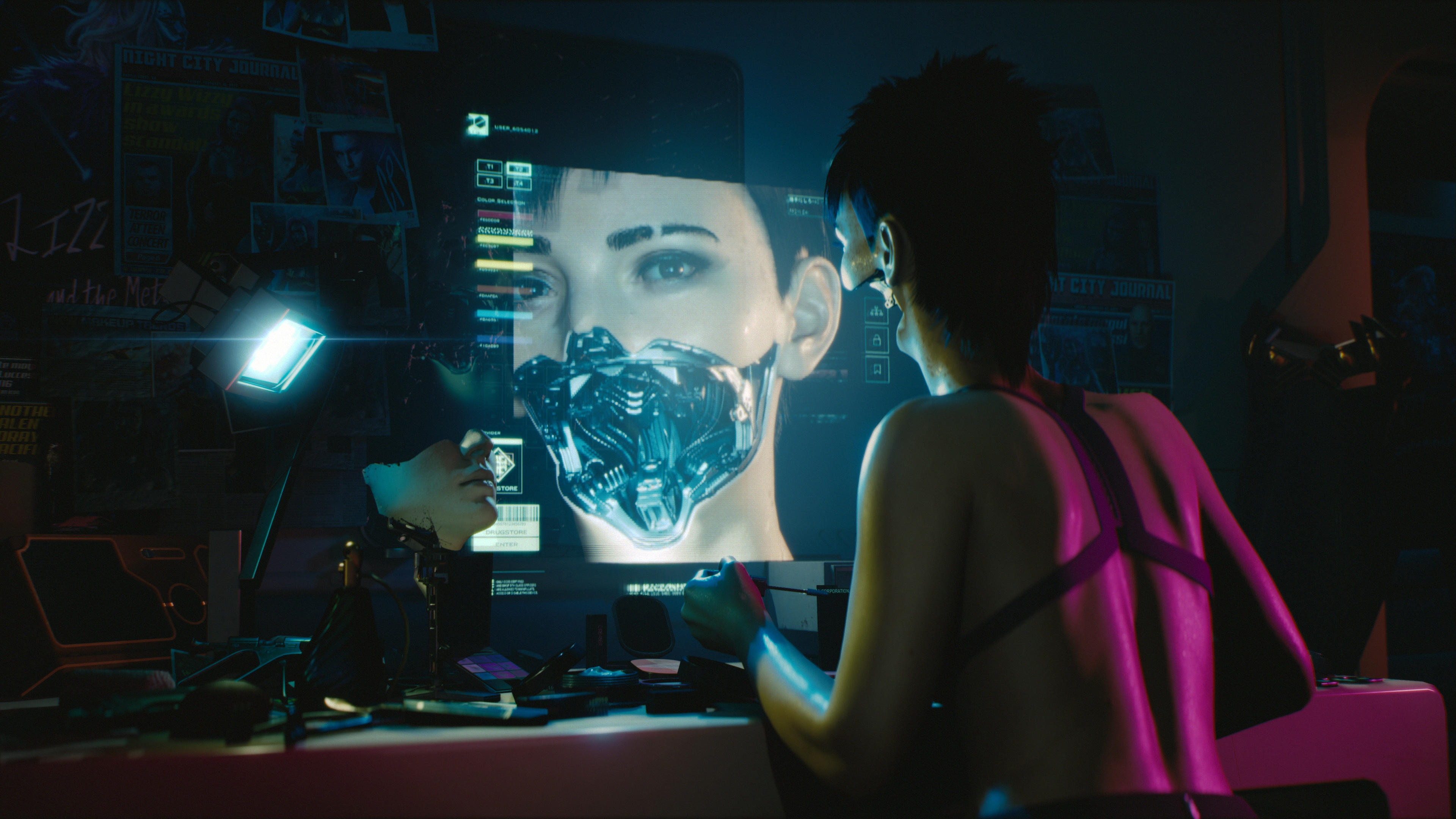 A cybernetic woman looks at herself in a computer monitor in Cyberpunk 2077