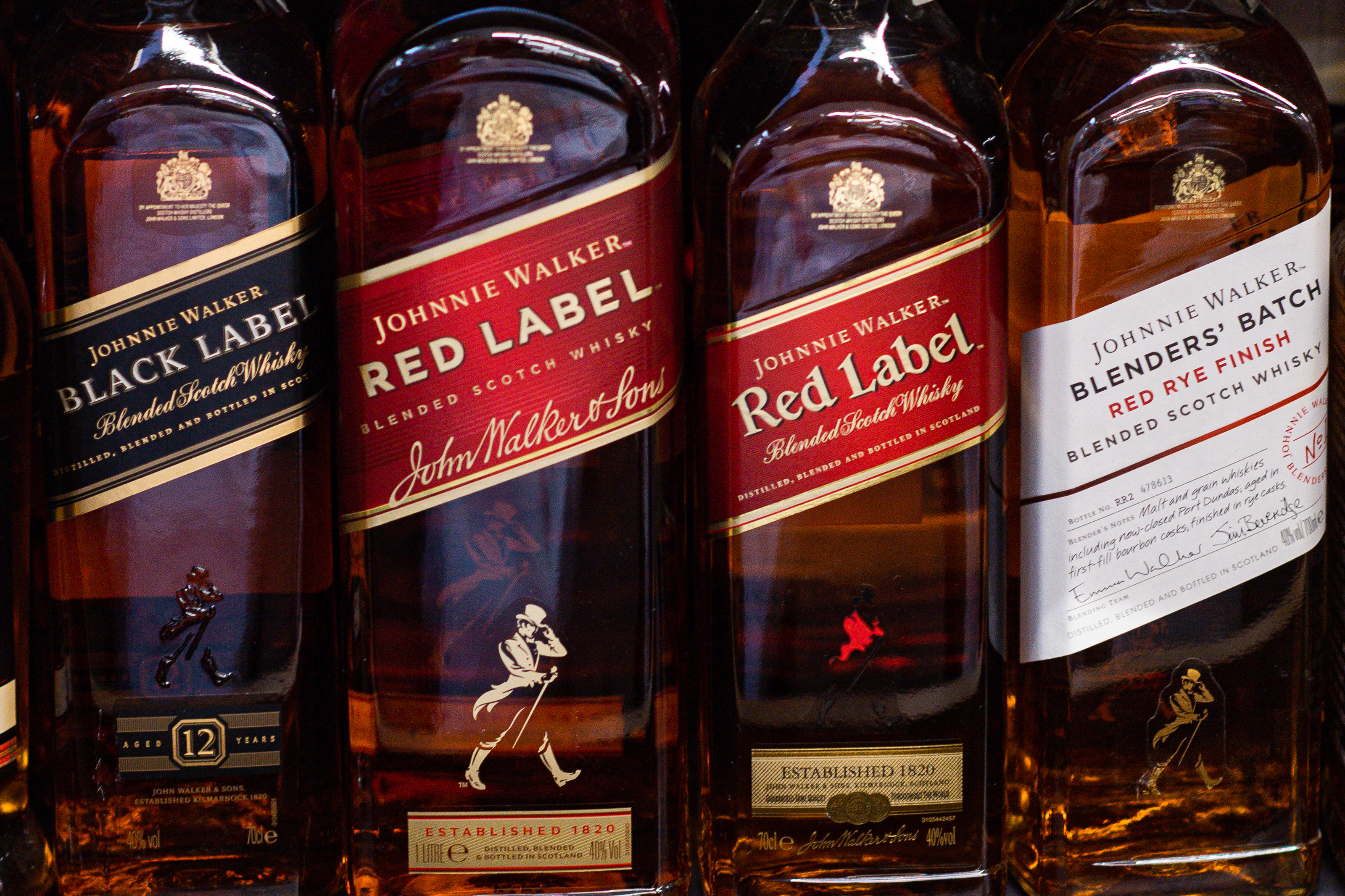 Johnnie Walker whiskey bottles seen at the grocery store...