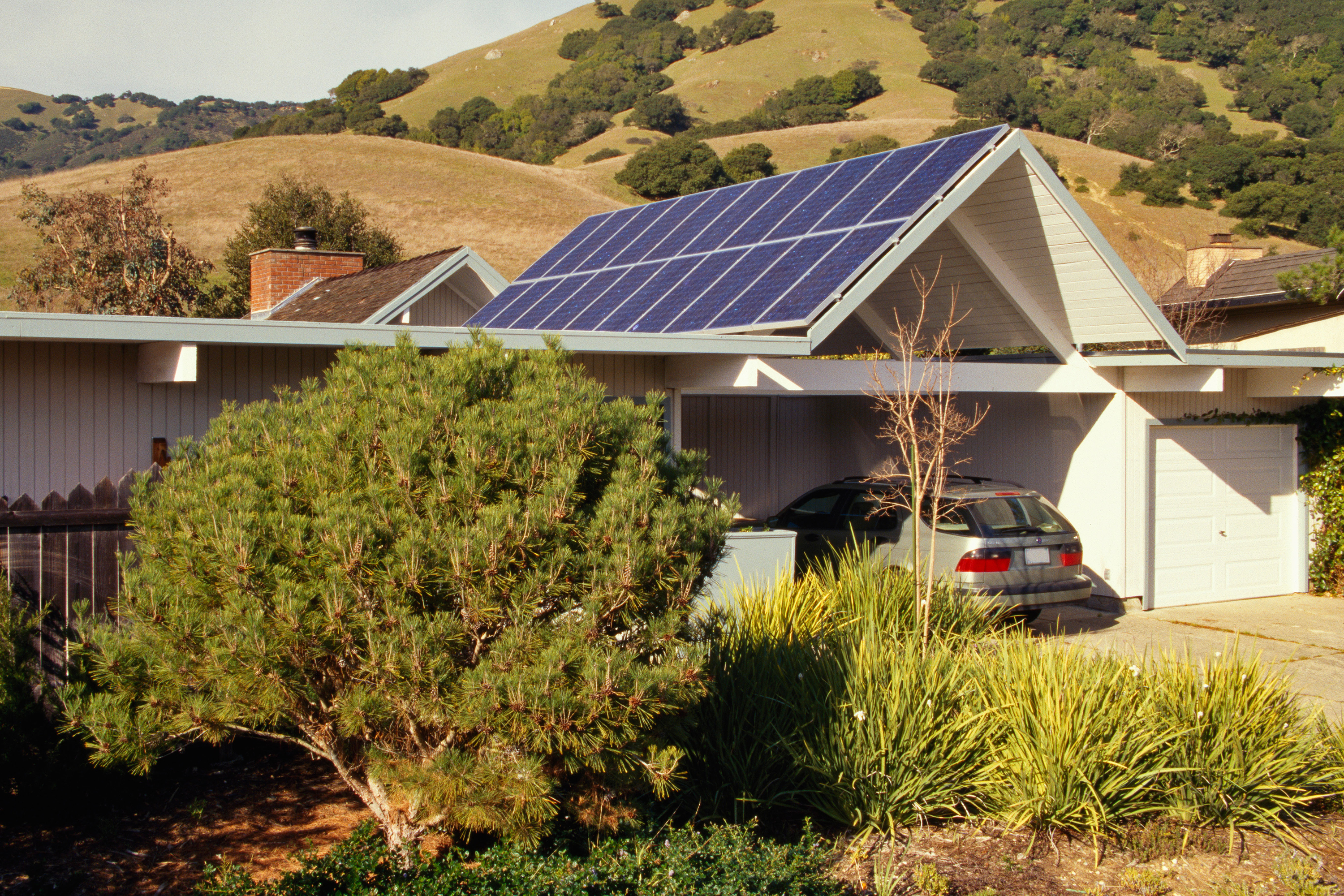 Solar panels on home in California.