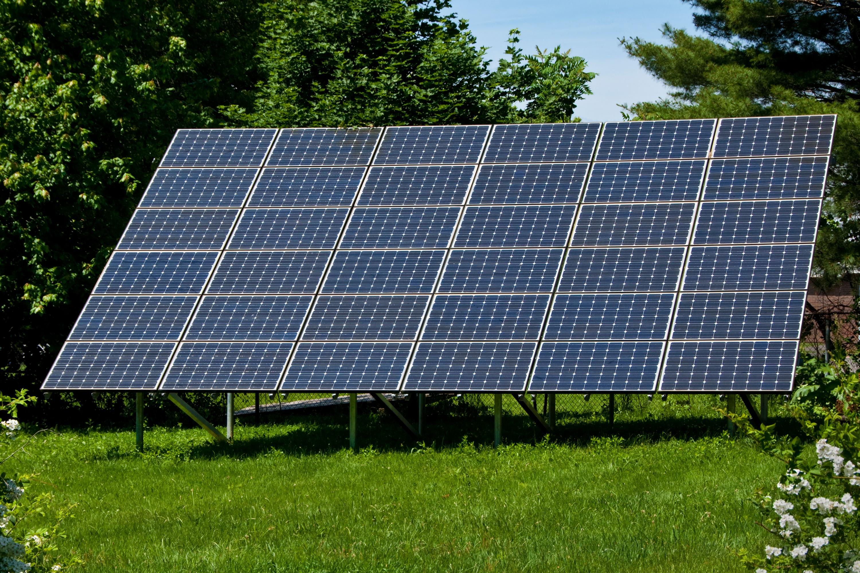 Solar panels in yard.