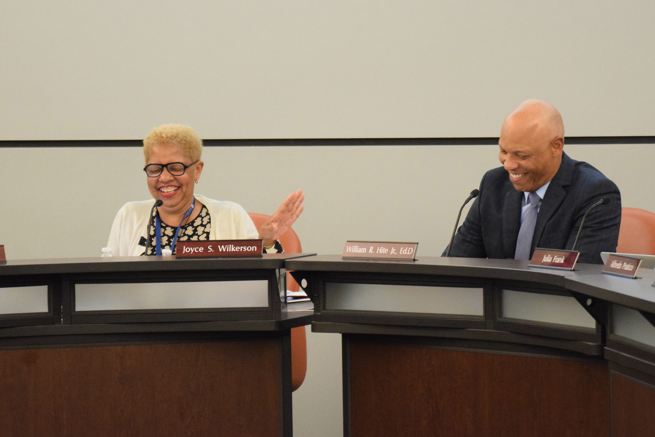 School Board President Joyce Wilkerson and Superintendent Hite joke during introductory remarks
