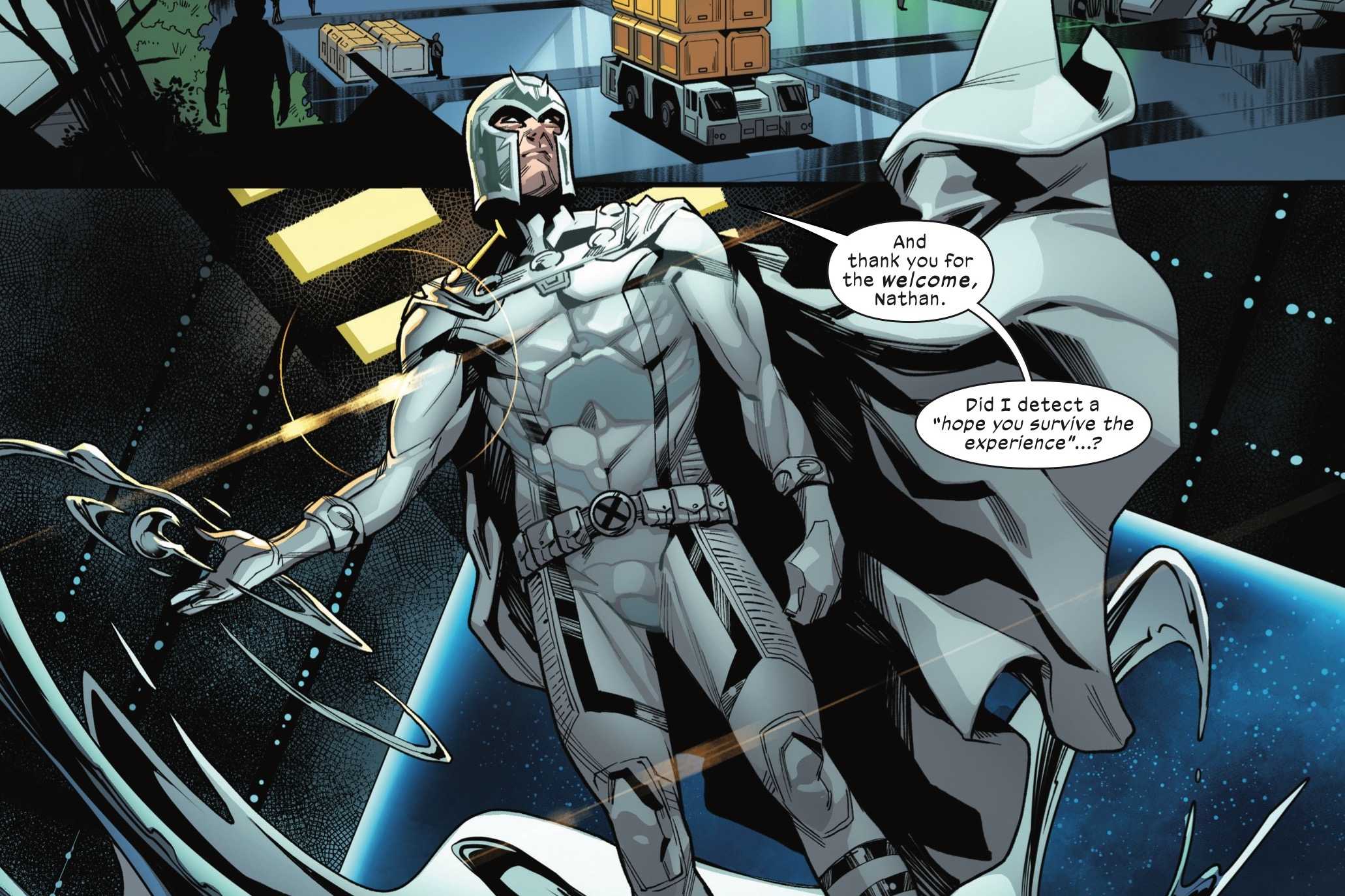 """Magneto, in his white costume, unfurls the metal sphere he used to ascend from earth's surface to the SWORD space station, saying """"And thank you for the welcome, Nathan. Did I detect a 'hope you survive the experience?'"""" in SWORD #1, Marvel Comics (2020)."""