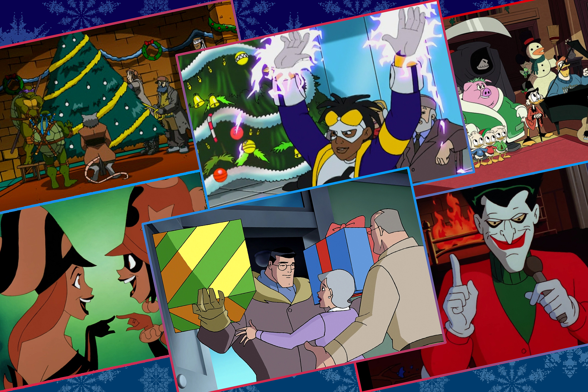 Graphic grid of six stills from Superhero Holiday specials