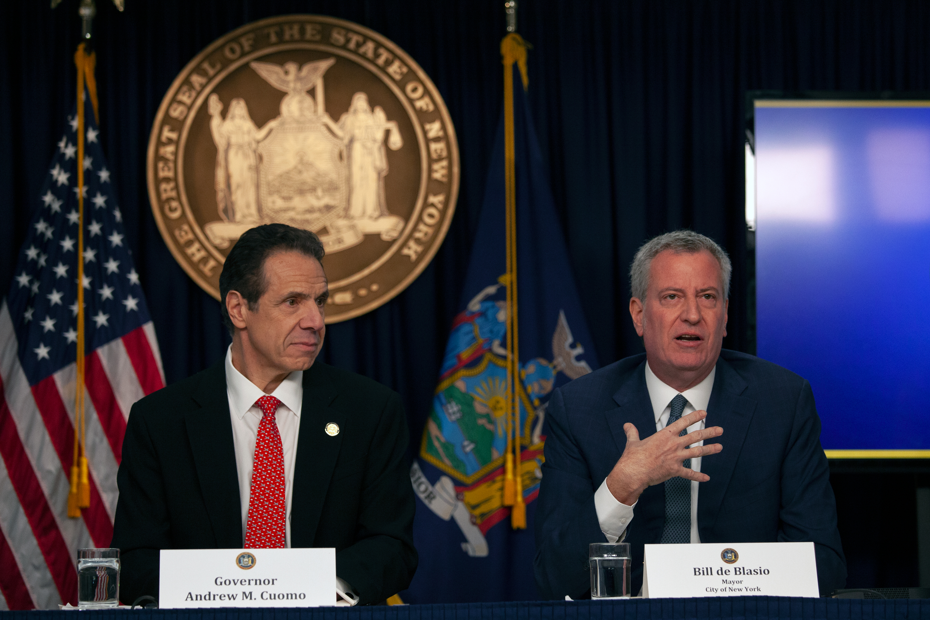 Mayor Bill de Blasio and Governor Andrew Cuomo hold a joint news conference at the start of the coronavirus outbreak, March 2, 2020.