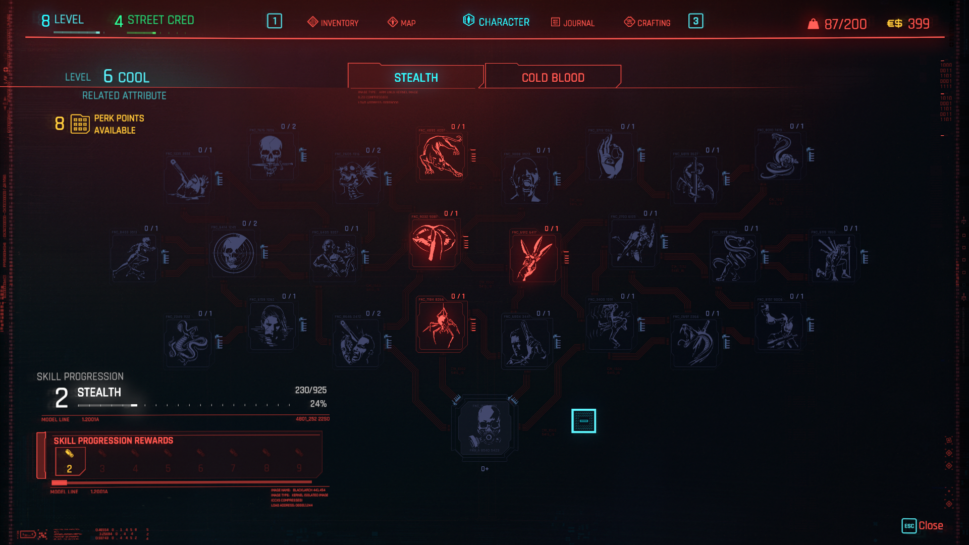 Cyberpunk 2077 Cool Stealth Perks