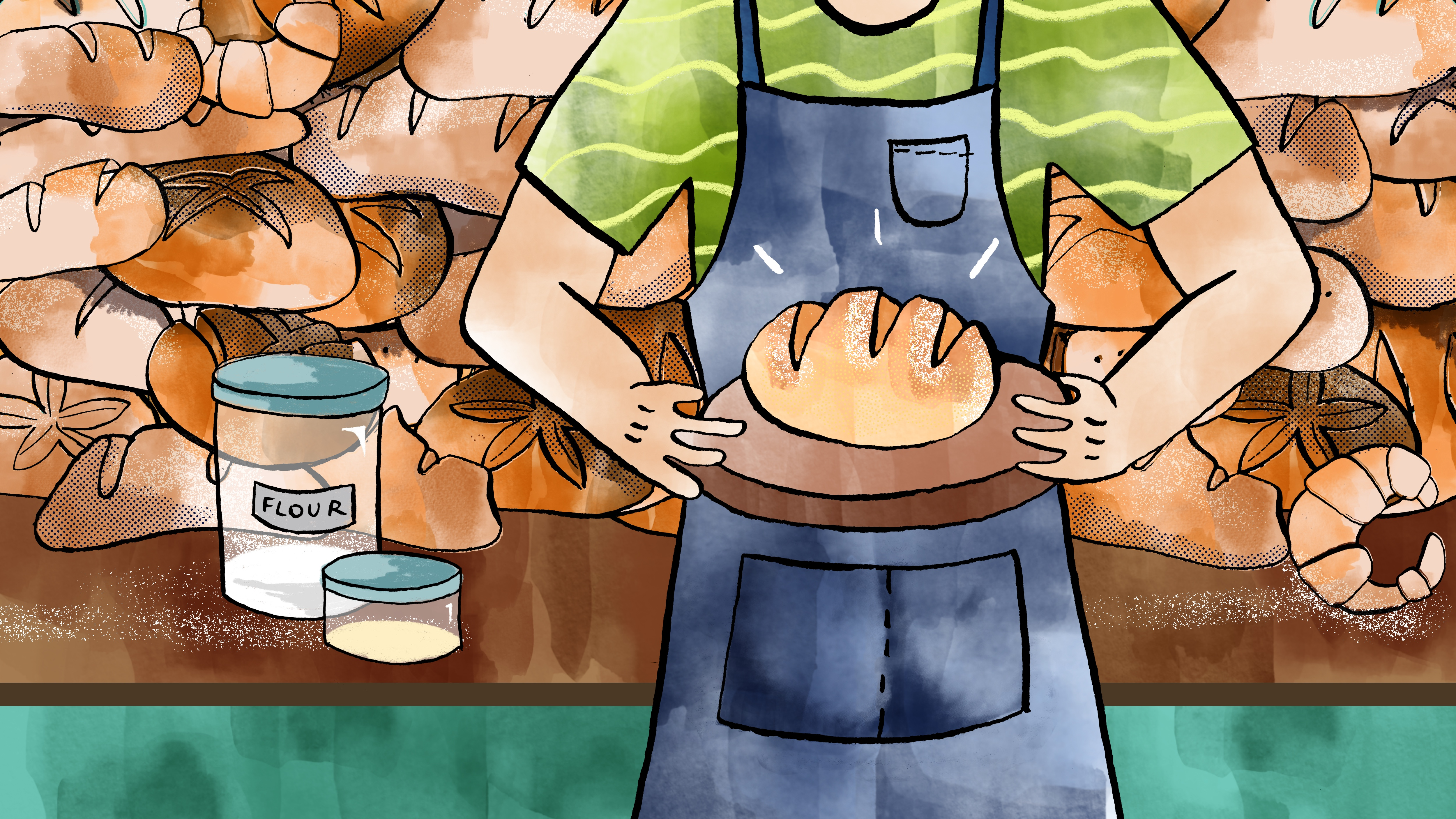 An illustration of a man holding a loaf of bread in front of so many more loaves of bread.