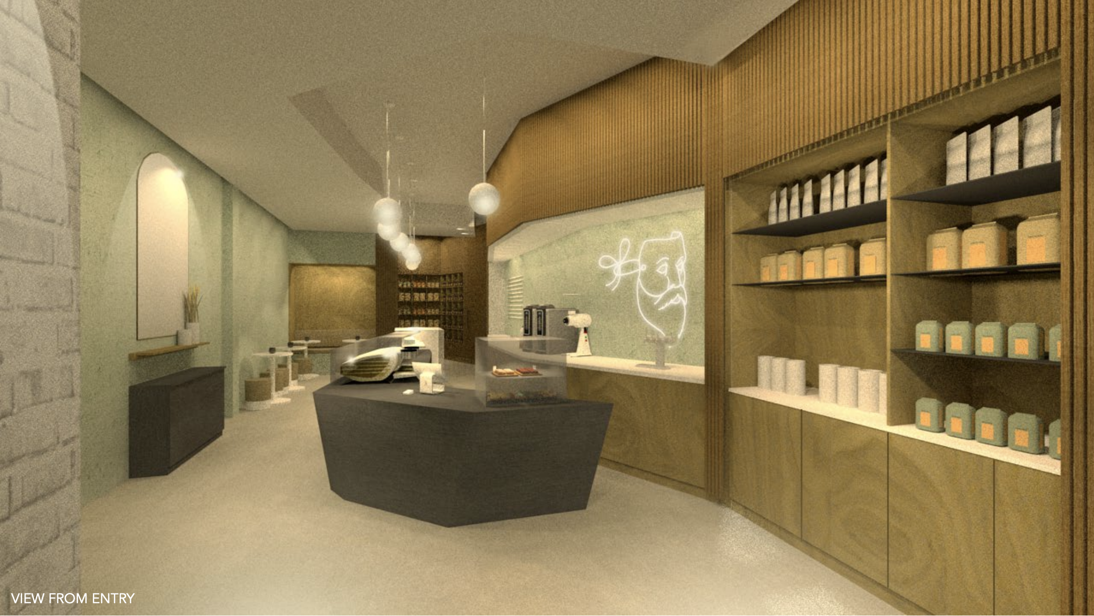A rendering of a Danish-style cafe interior
