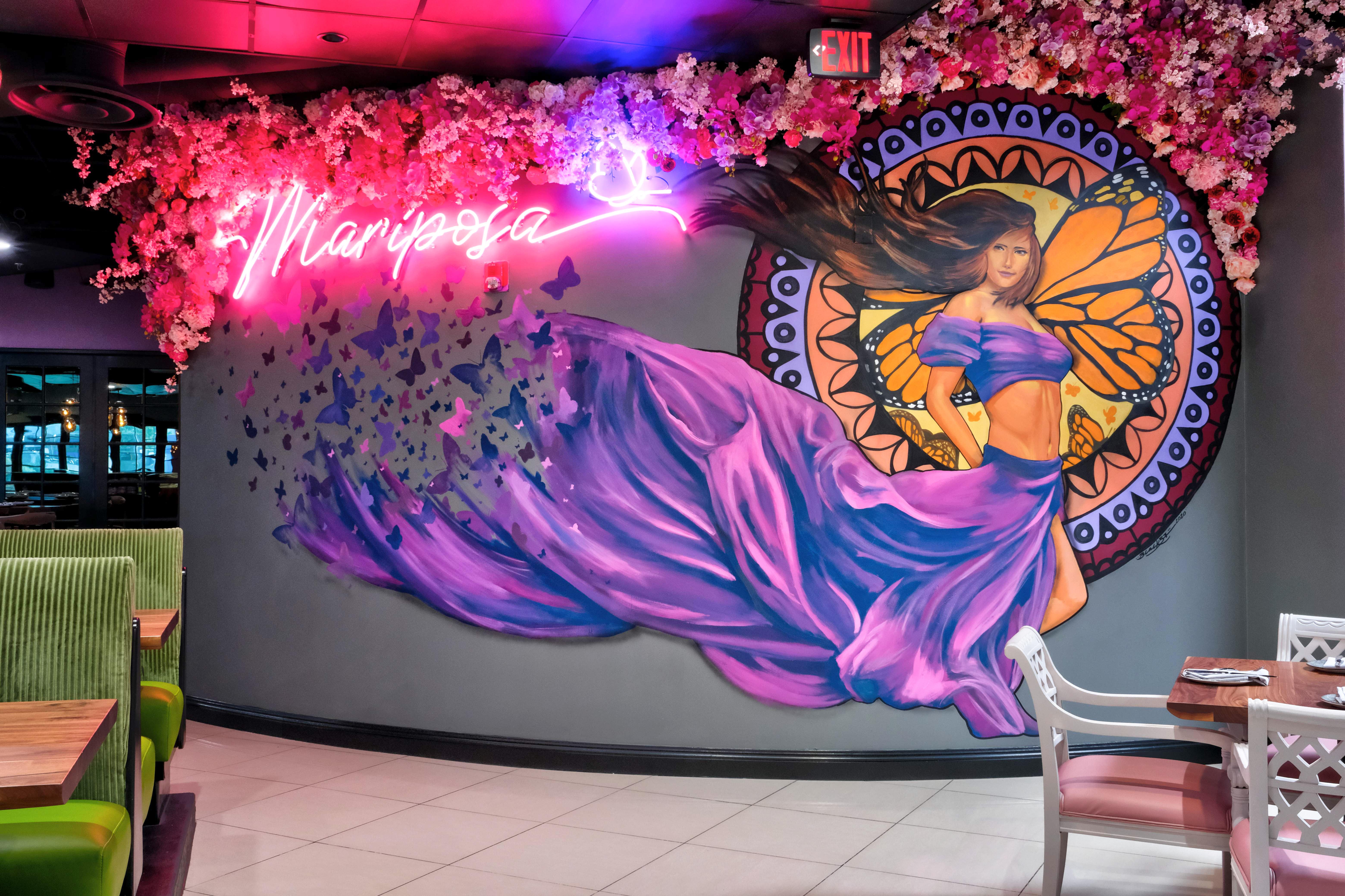 A mural inside a restaurant