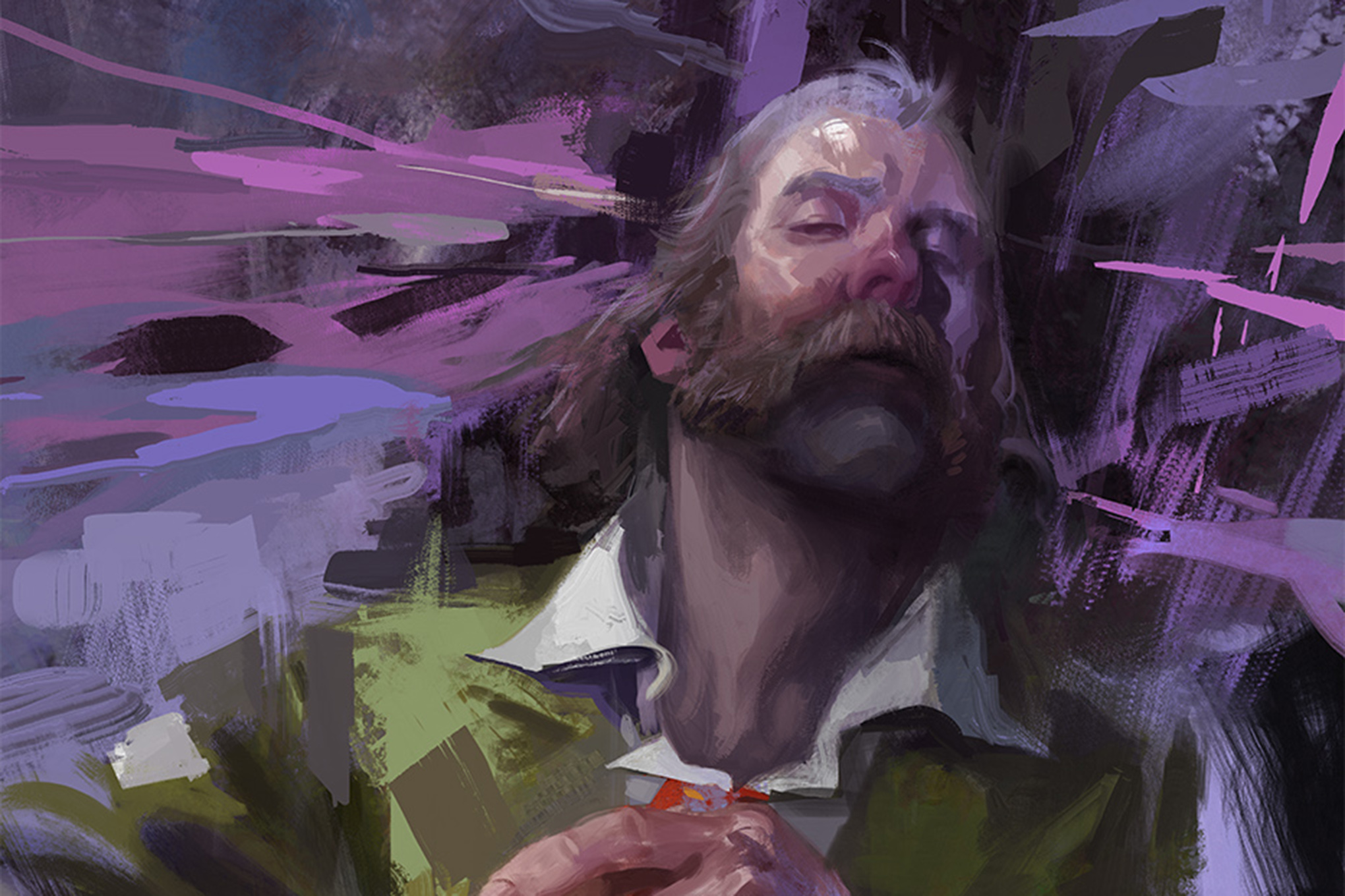 Concept art for Disco Elysium showing the player character as a sensitive type. The art resembles oil on canvas, and has a purple background.
