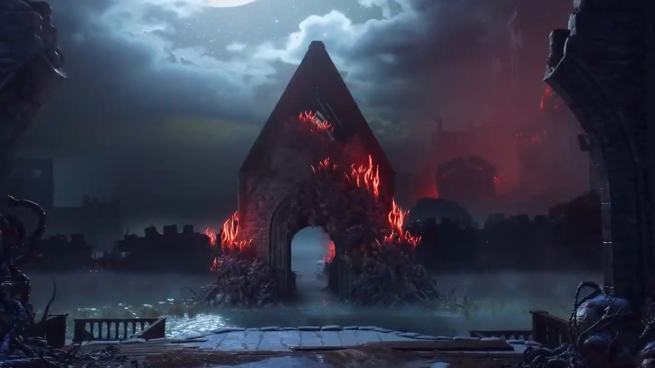 Dragon Age - a Templar church is infested with red lyrium, in the middle of an atmospheric, foggy moor