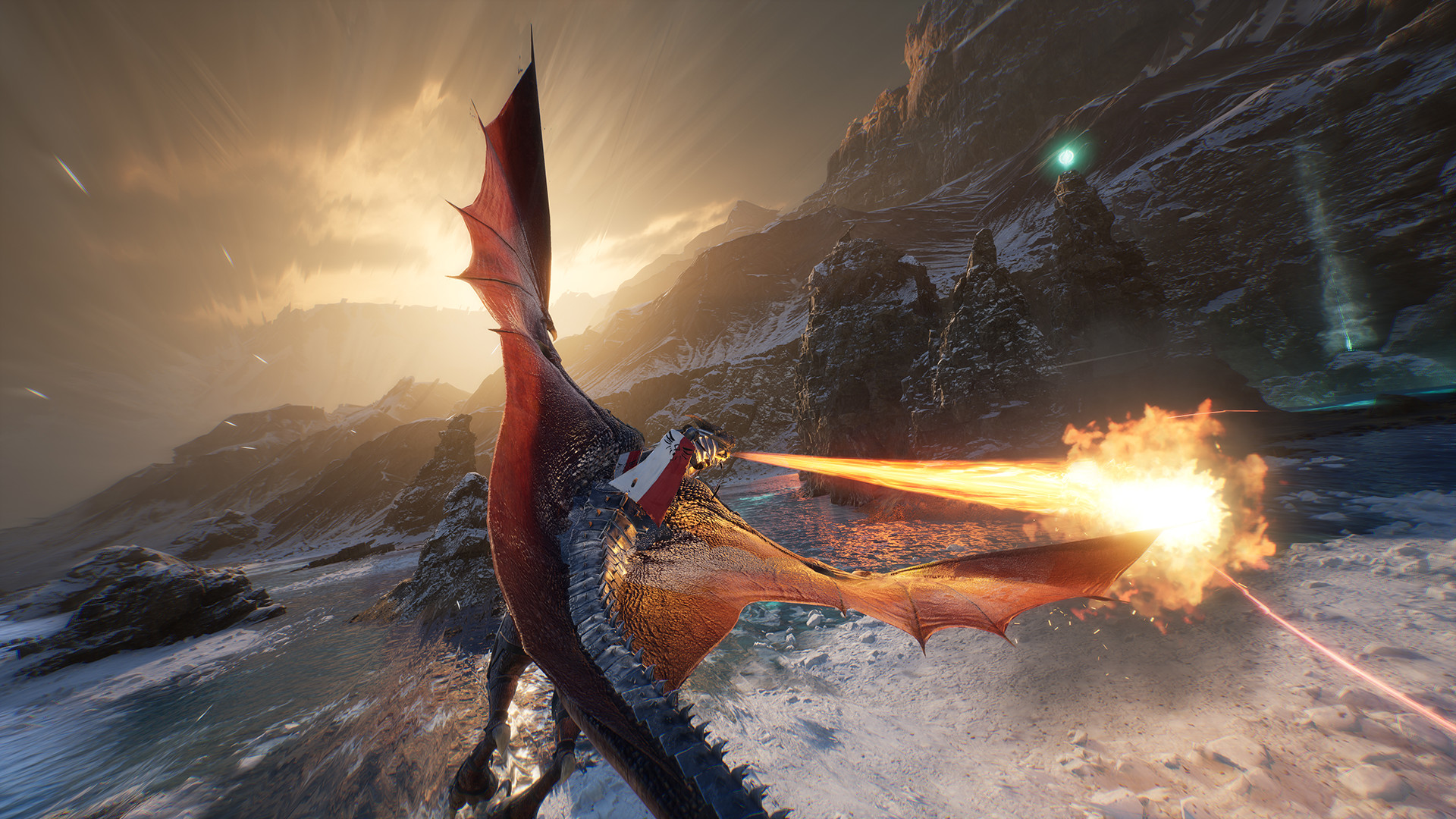 a dragon blasts an adversary with fire breath over winter skies in a fantasy setting
