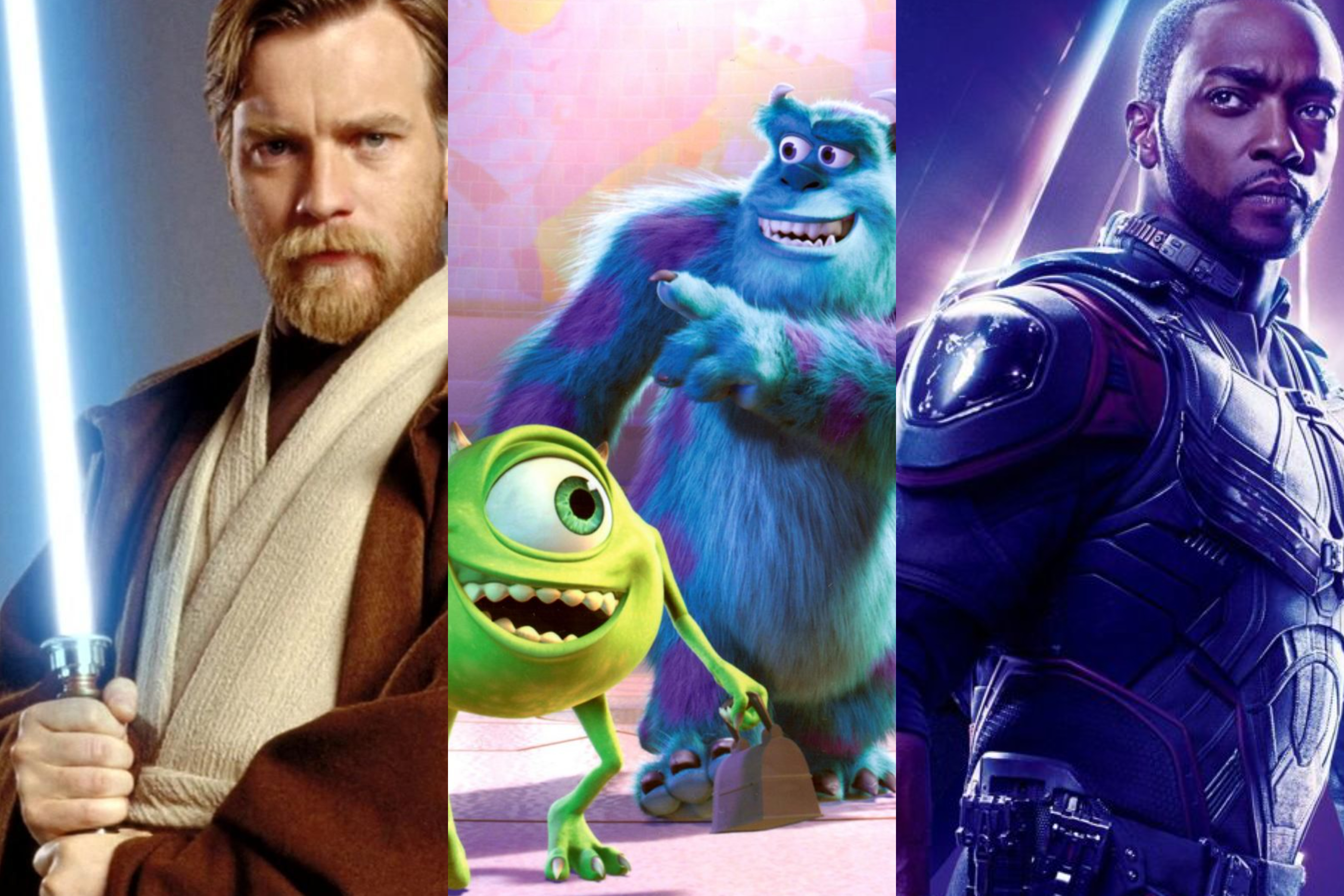 Left to right: Obi-Wan Kenobi; Mike and Sully, and Sam Wilson/The Falcon.