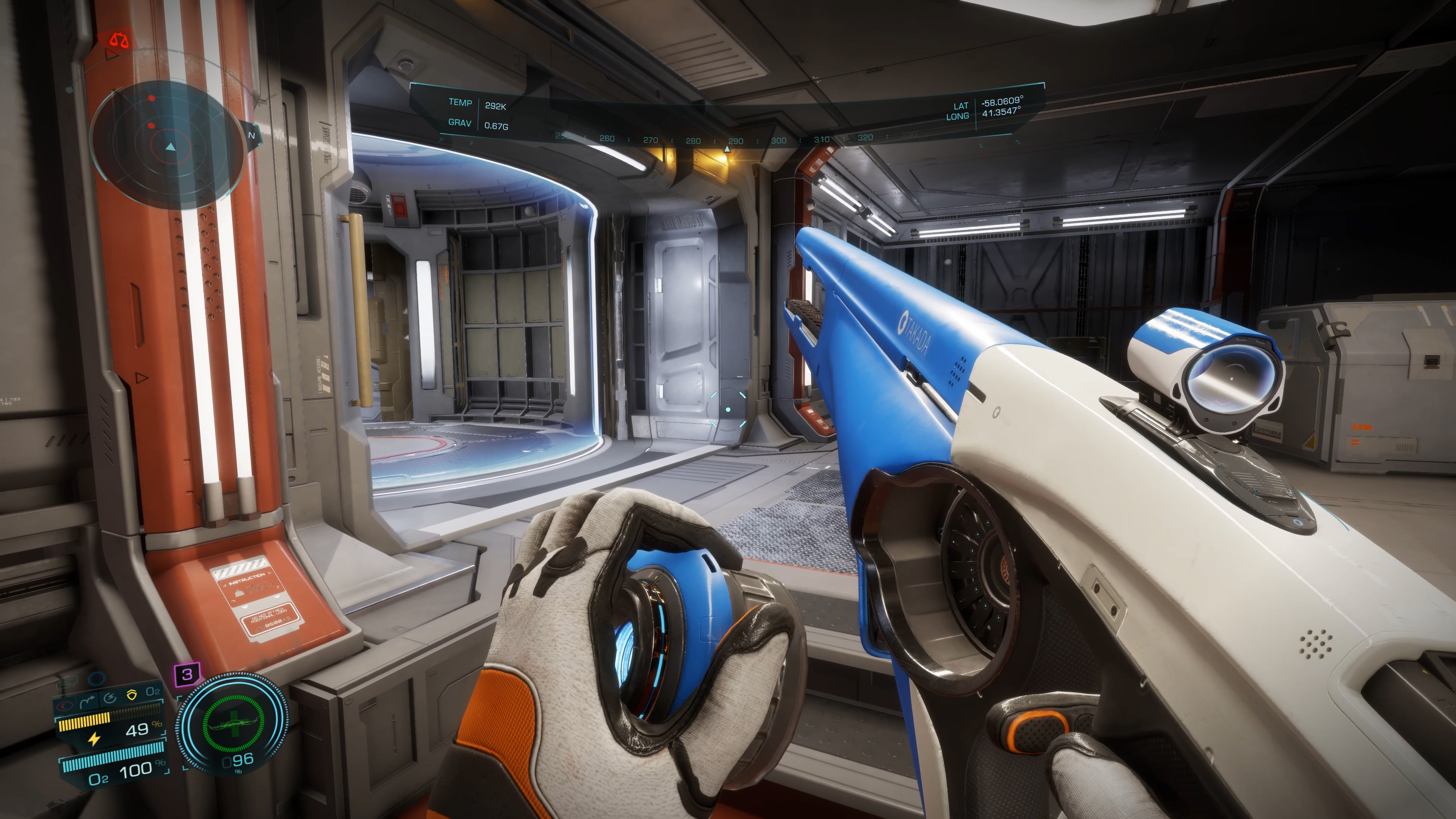 A player in Elite Dangerous: Odyssey reloads a weapon, white and sleek as anything flown by the Empire.