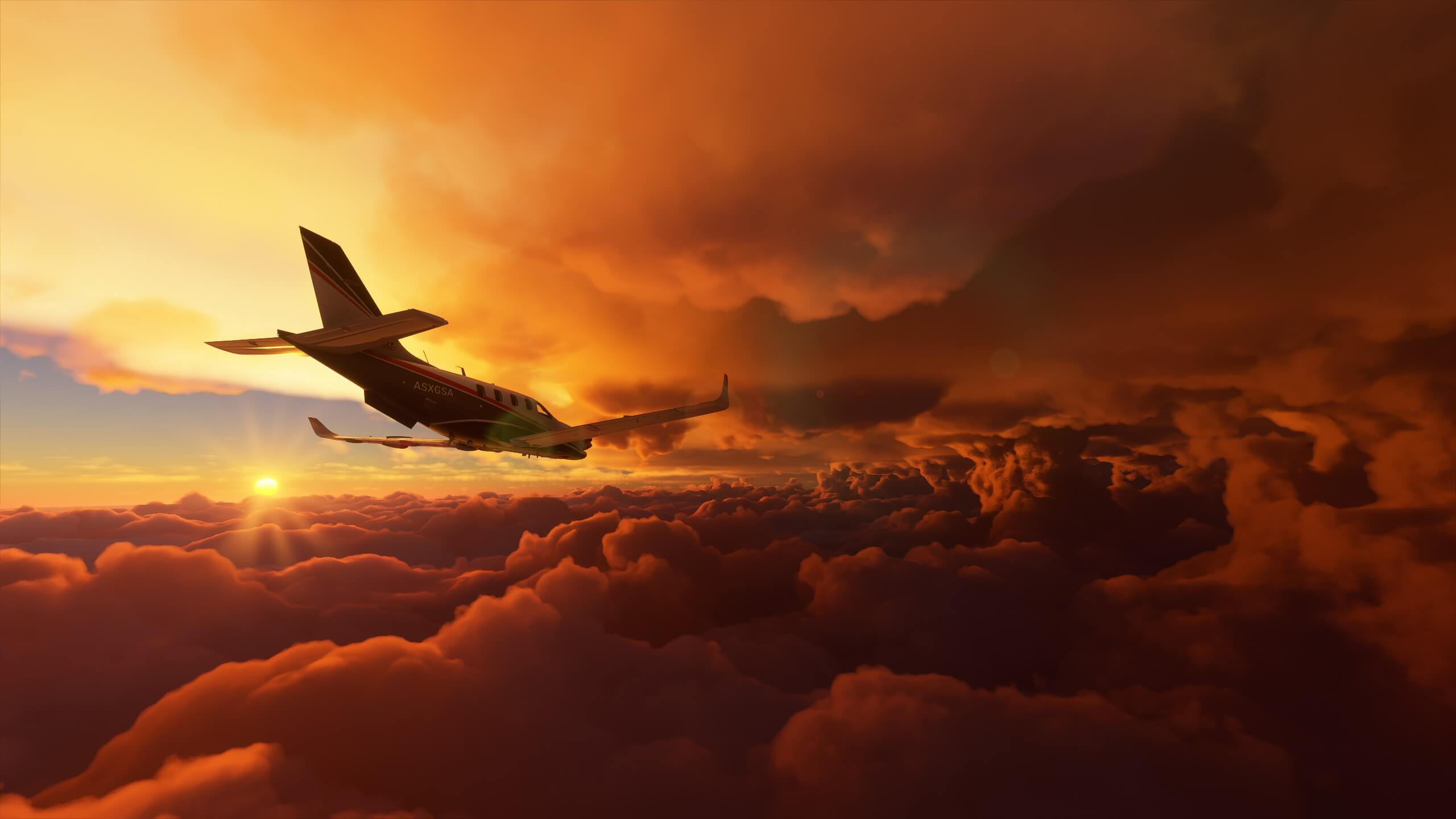 A turboprop plane flys through multiple cloud layers at sunset.