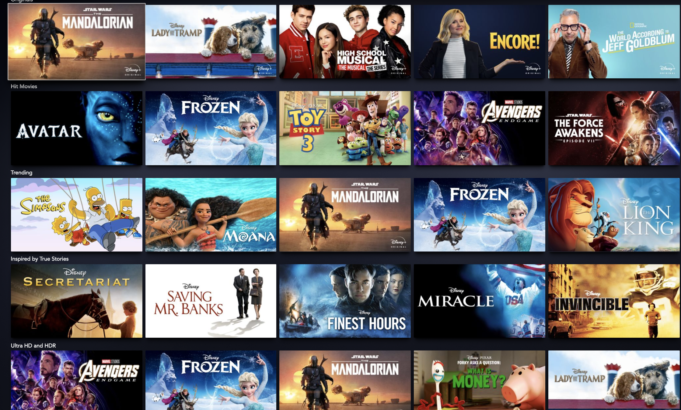 The Disney Plus homepage is full of new and classic movies and shows