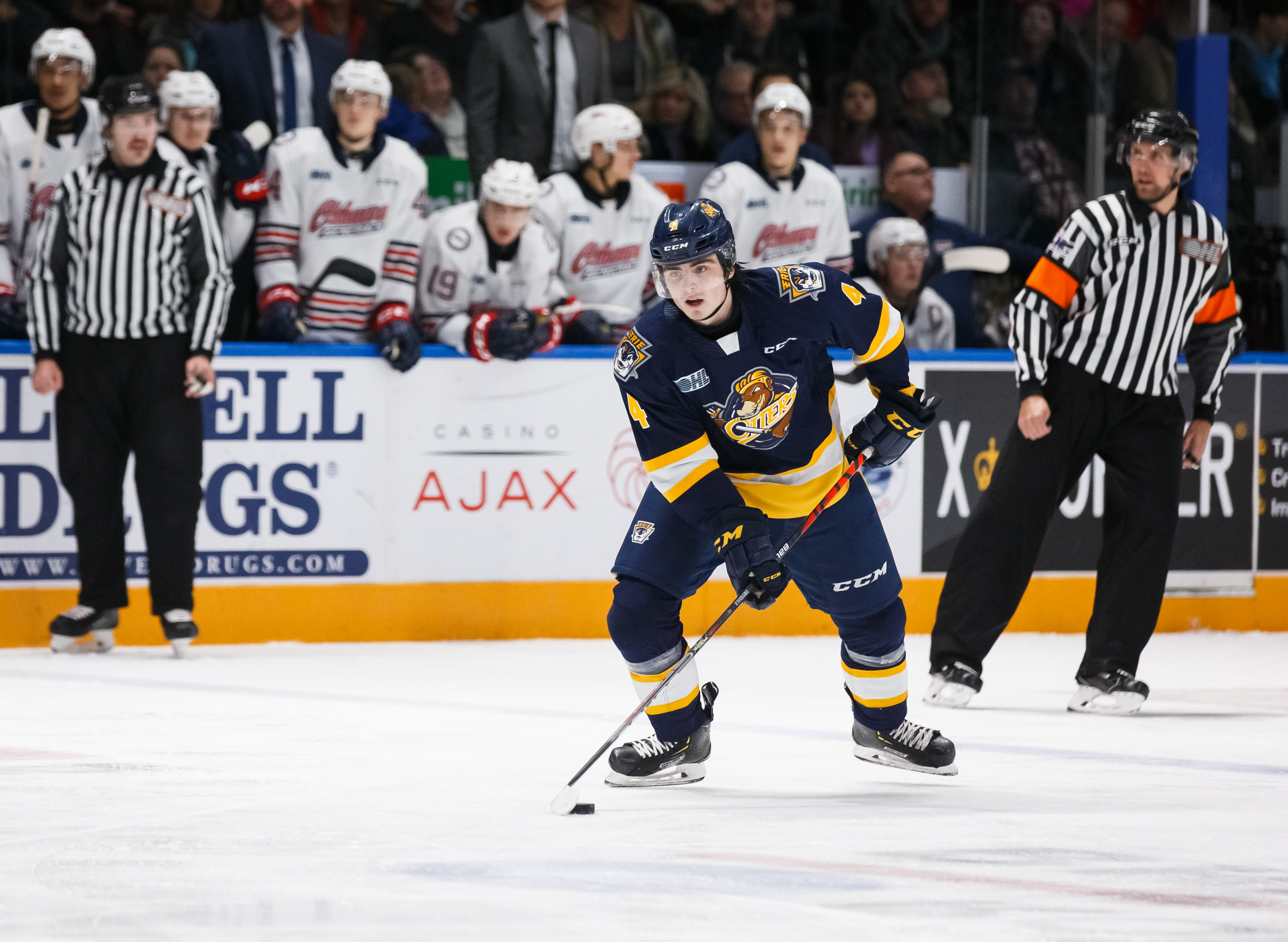 Jamie Drysdale #4 of the Erie Otters skates with the puck during an OHL game against the Oshawa Generals at the Tribute Communities Centre on November 22, 2019 in Oshawa, Ontario, Canada.