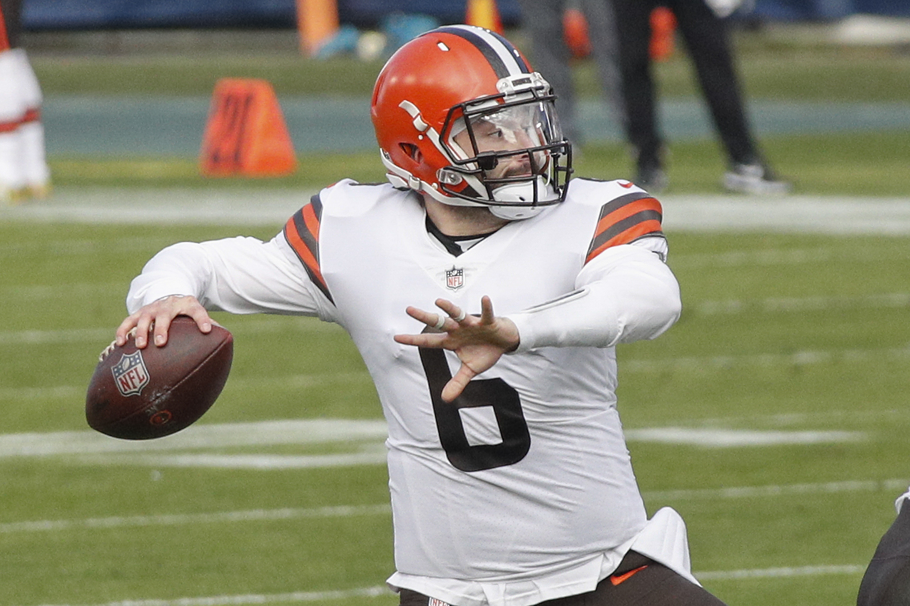 Quarterback Baker Mayfield of the Cleveland Browns plays against the Tennessee Titans at Nissan Stadium on December 06, 2020 in Nashville, Tennessee.