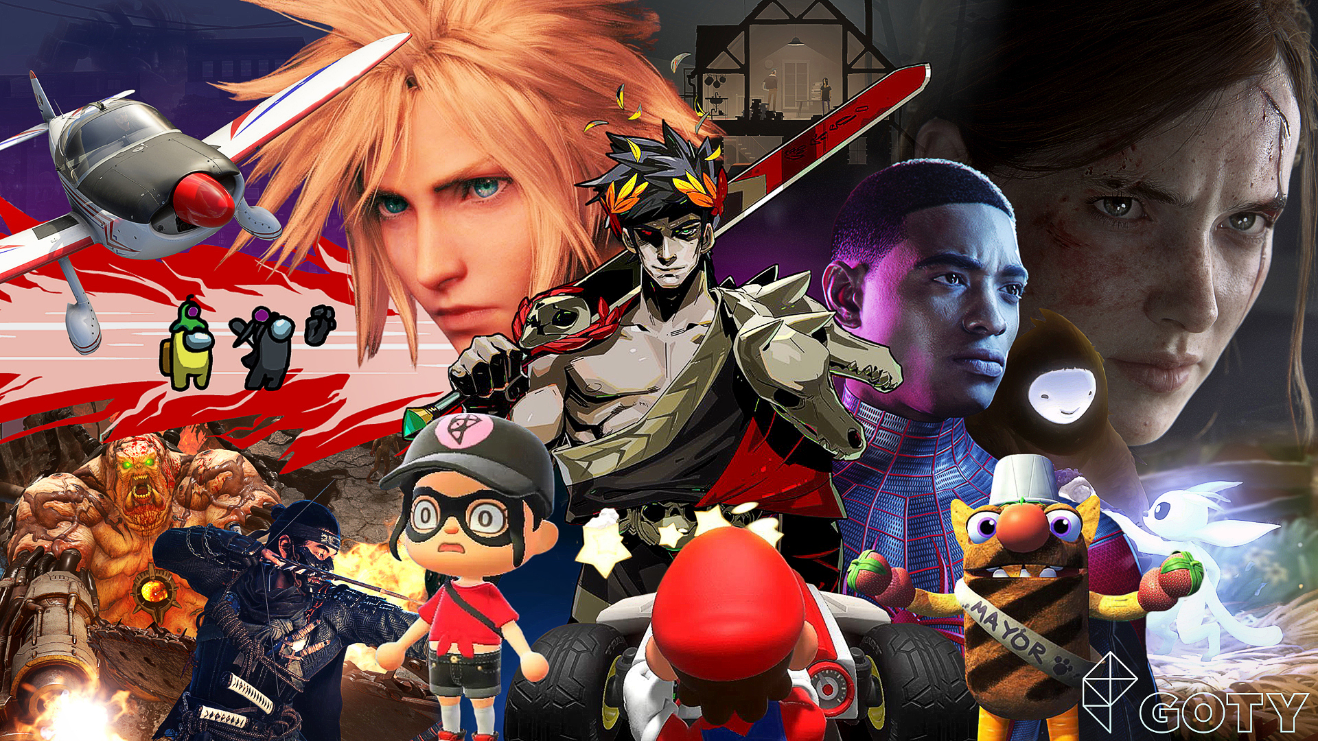 Graphic collage featuring images and characters from Polygon's Game of the Year selects