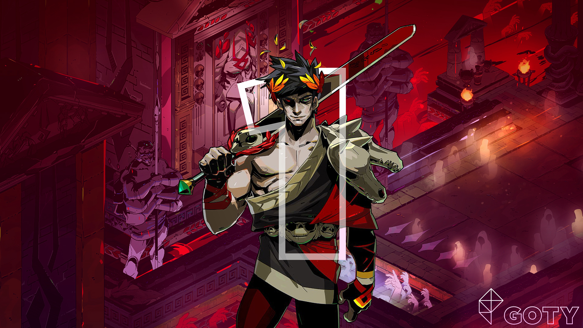 artwork of Zagreus from Hades superimposed on the starting area, with a stenciled number 1 on top of him