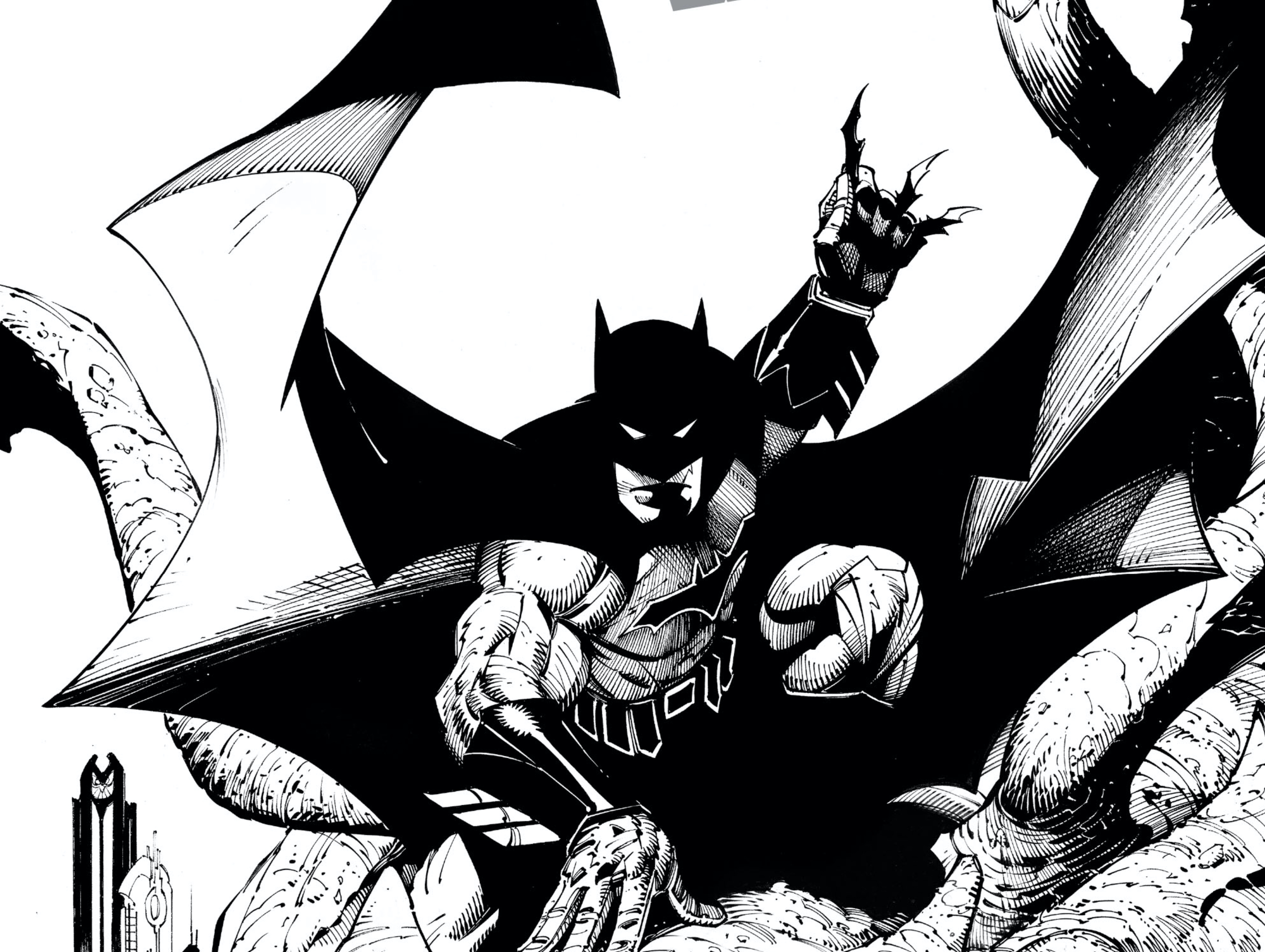 Image: Batman crouches, readying three batarangs, rendered all in black and white.