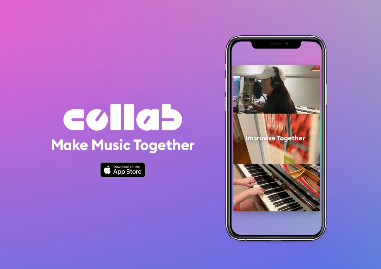 The Facebook Collab logo next to a smartphone showing a screenshot of the Collab interface.