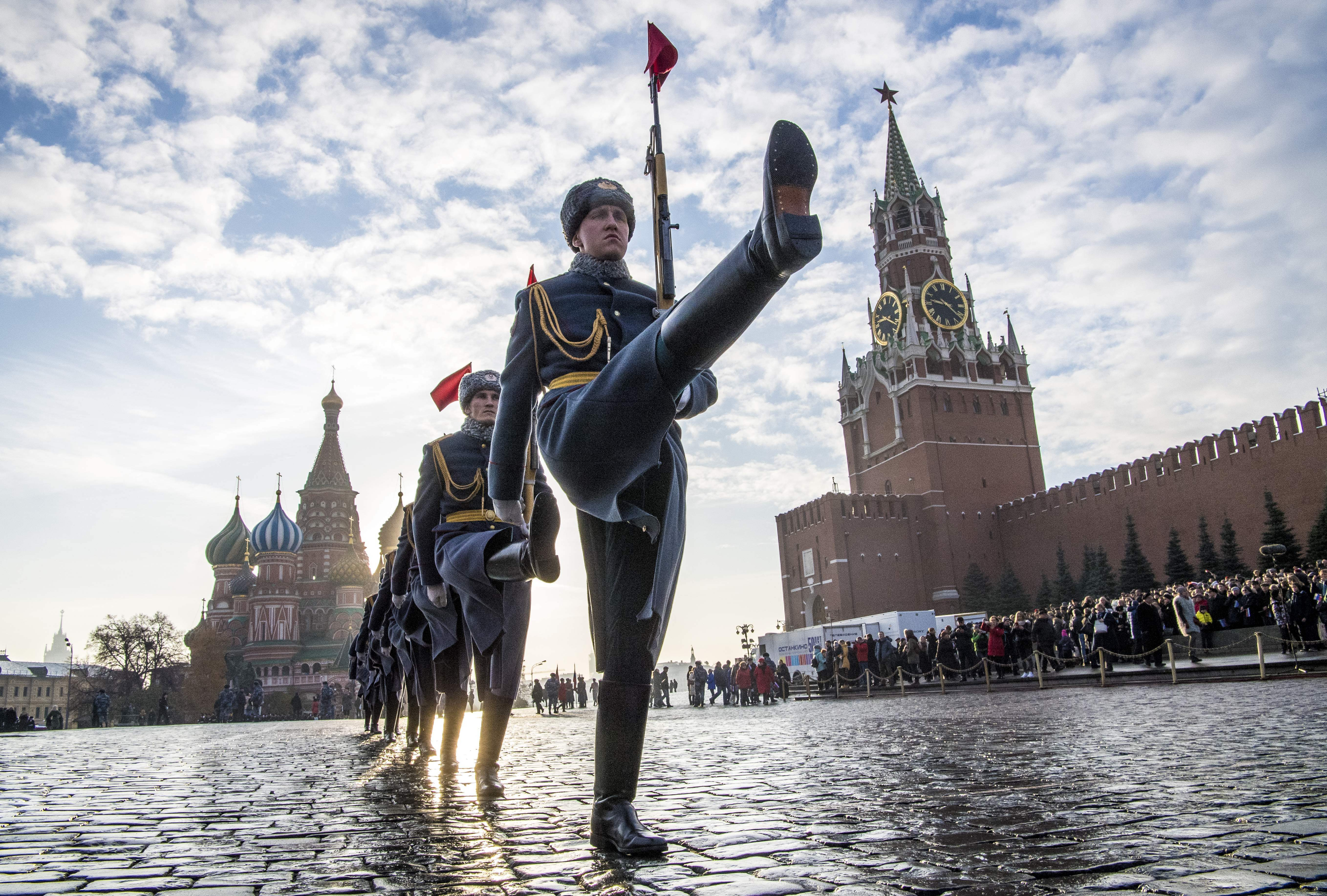 Russian soldiers march in Red Square, Moscow, Russia.