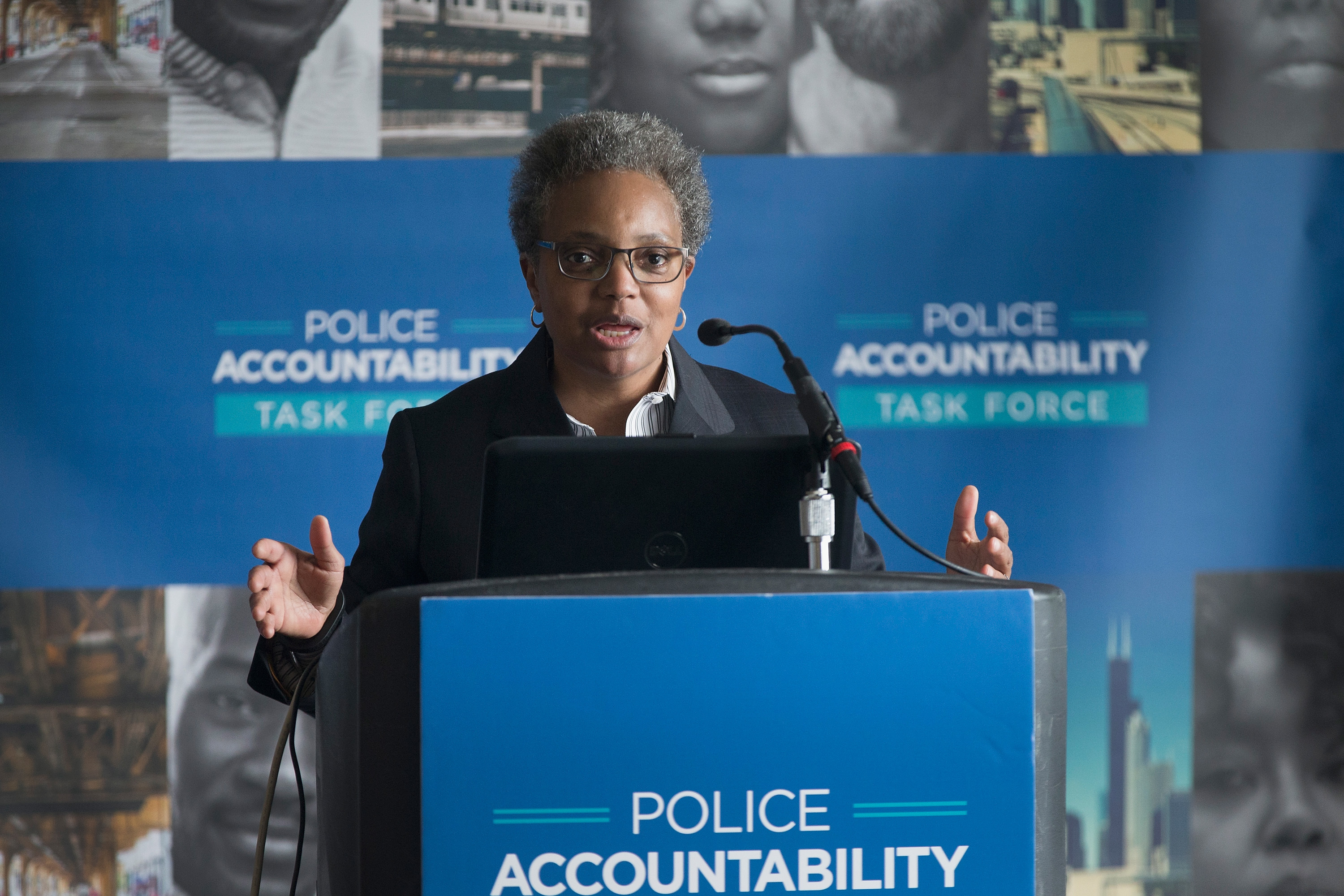 Lori Lightfoot, chair of the Chicago Police Board, addresses community leaders and members of the news media about the findings of the Police Accountability Task Force on April 13, 2016 in Chicago, Illinois.