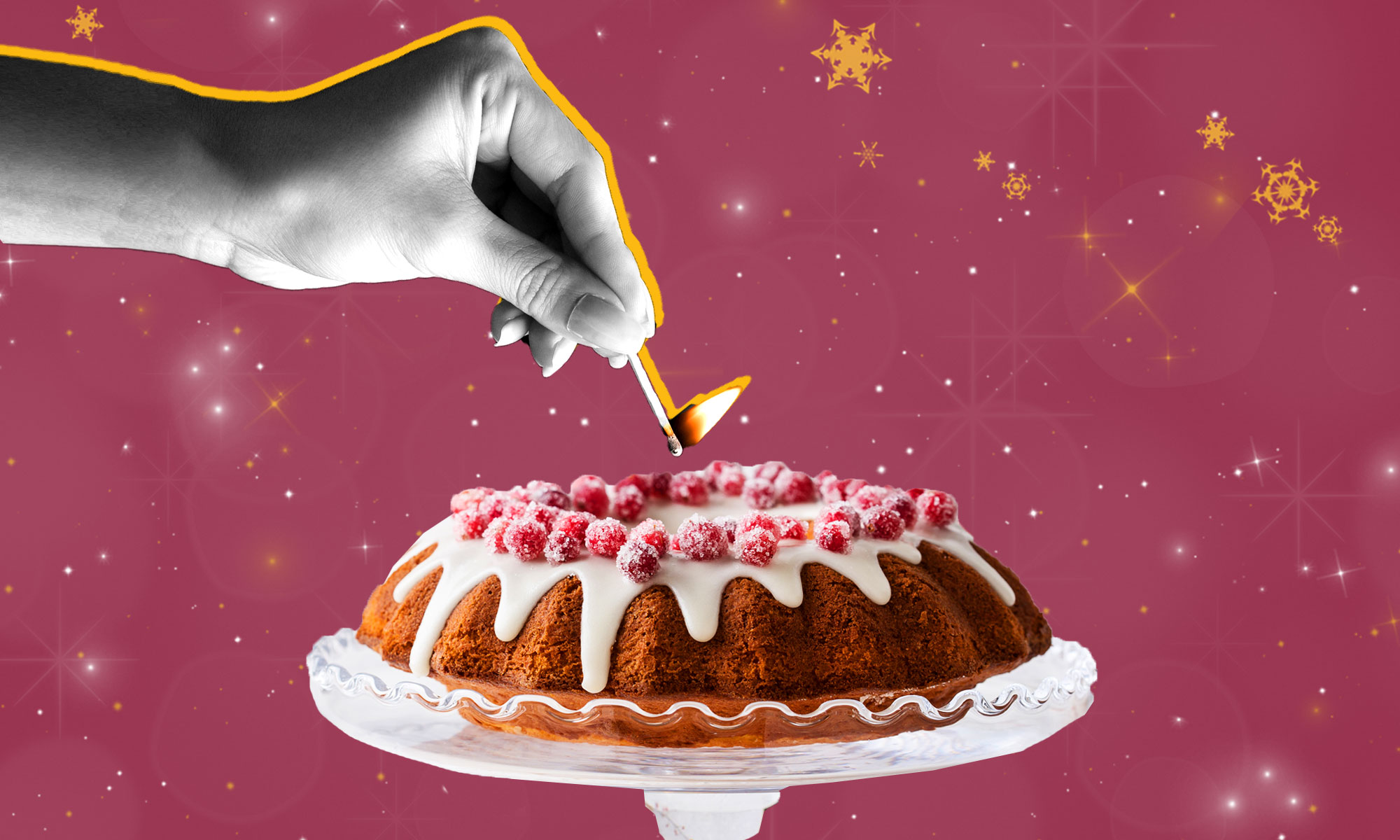 A collage showing a woman's hand holding a flaming match over a bundt cake.