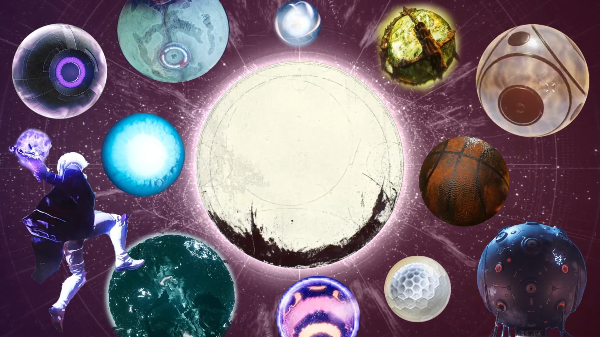 A collage of orbs from the Destiny series, including the Traveler, enemy spheres, and a guardian preparing to slam dunk a ball of energy.