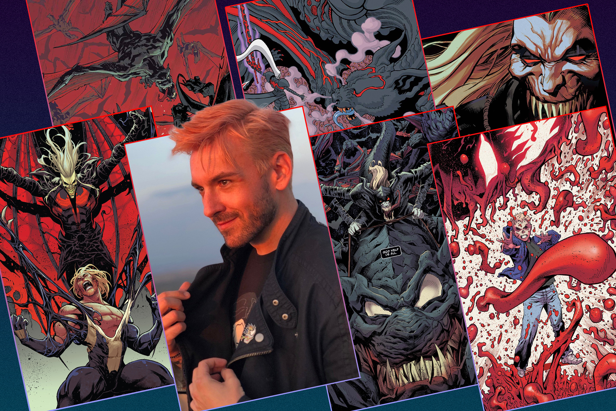 A grid featuring comic book artwork and portrait of the writer Donny Cates