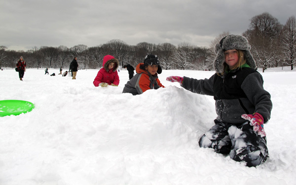 Three Brooklyn students used their snow day to build a snow fort in Prospect Park in 2011.