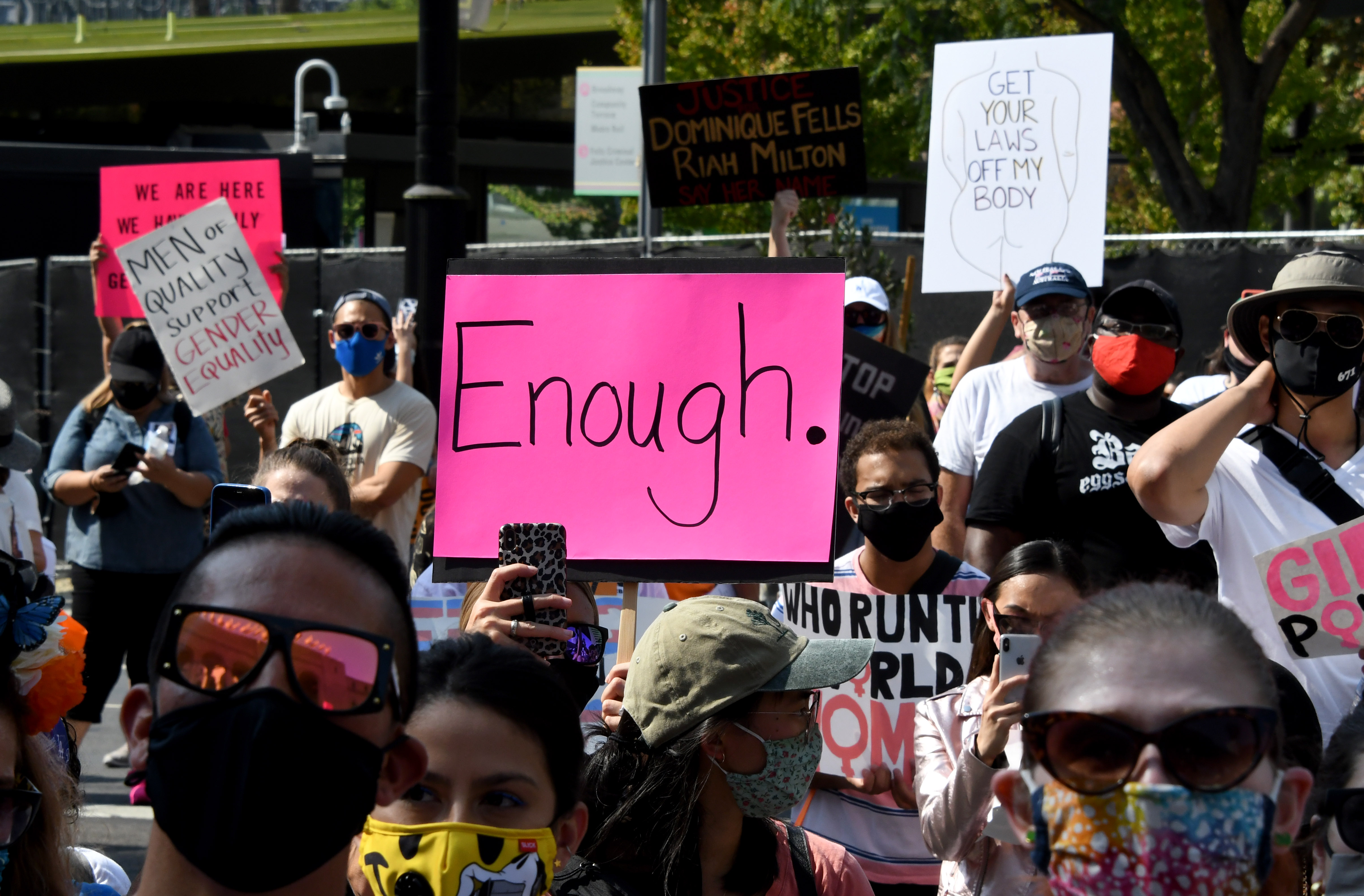 Hundreds protest during the Los Angeles Women's March in October 2020