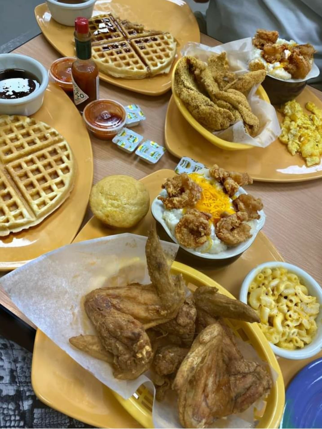 Chicken and waffle dishes