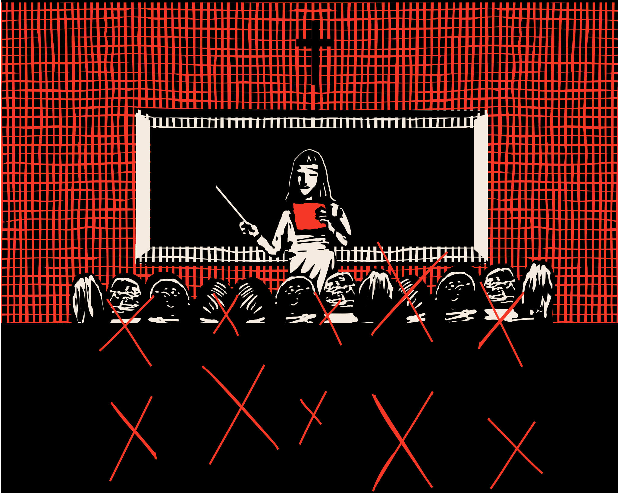 Illustration of a nun standing in front of a blackboard teaching a class.