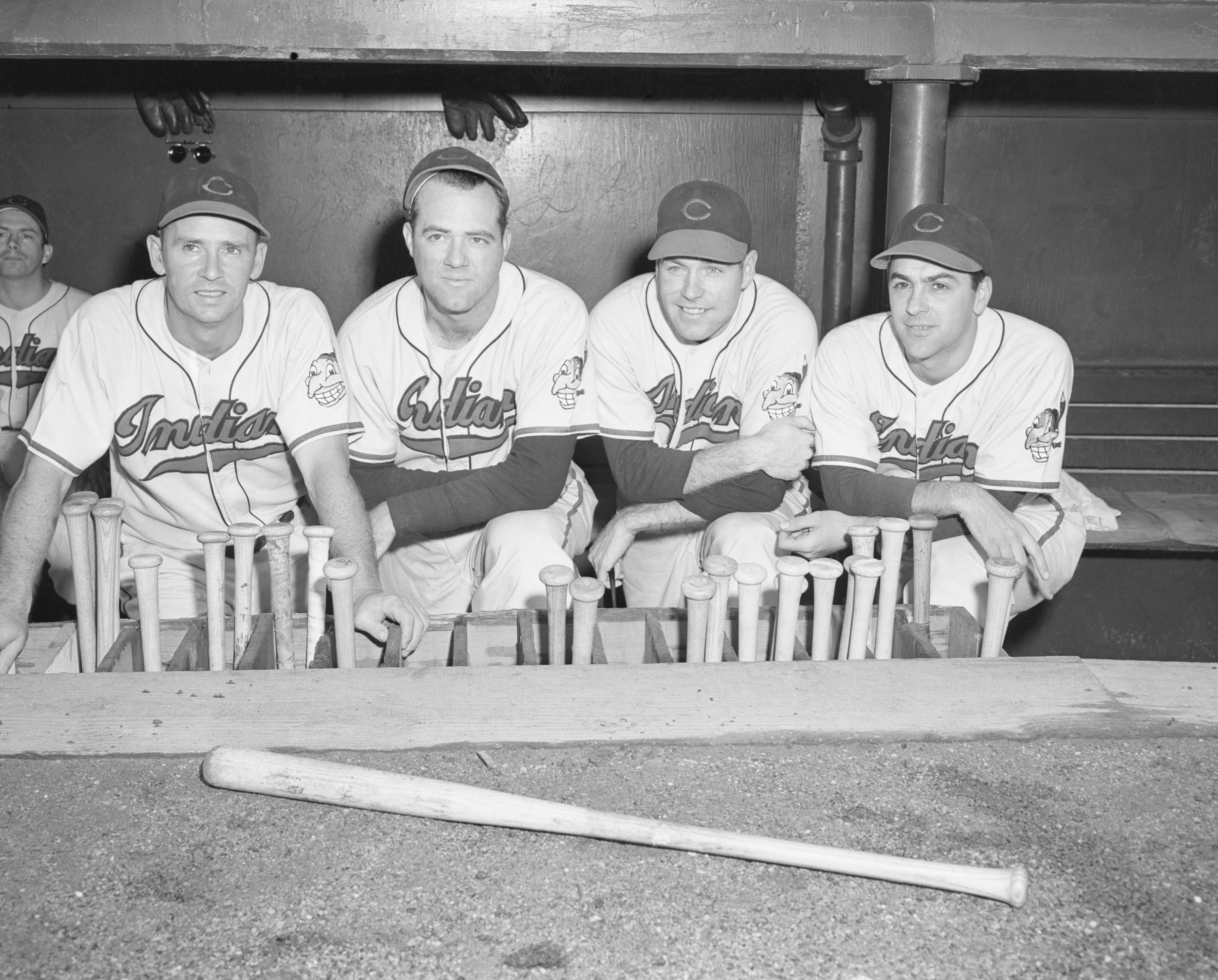 Lou Boudreau and Teammates in Dugout